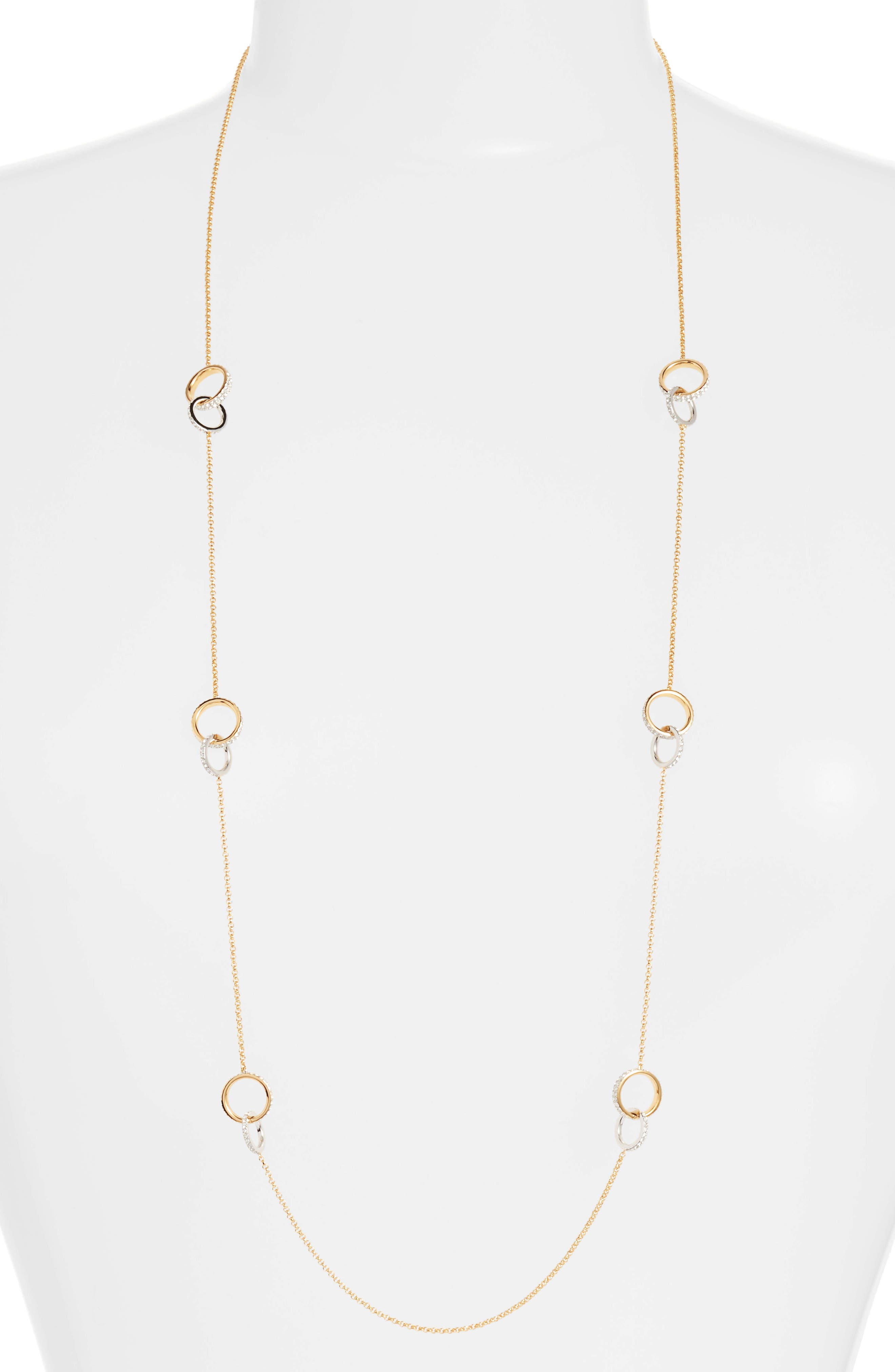 Trinity Double Link Long Necklace,                             Main thumbnail 1, color,                             Gold / Silver