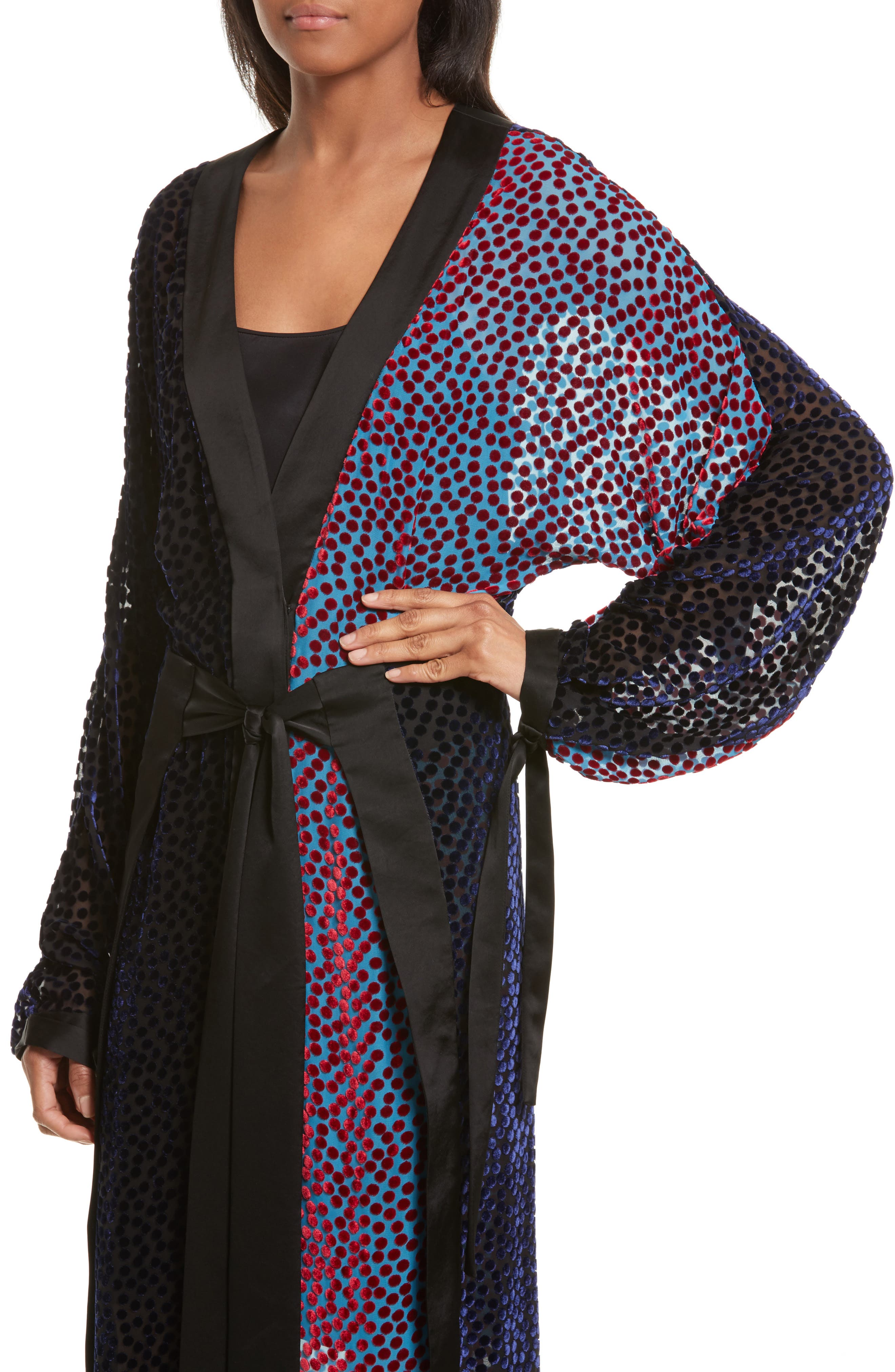 Burnout Velvet Kimono Wrap Dress,                             Alternate thumbnail 4, color,                             Deep Violet Multi
