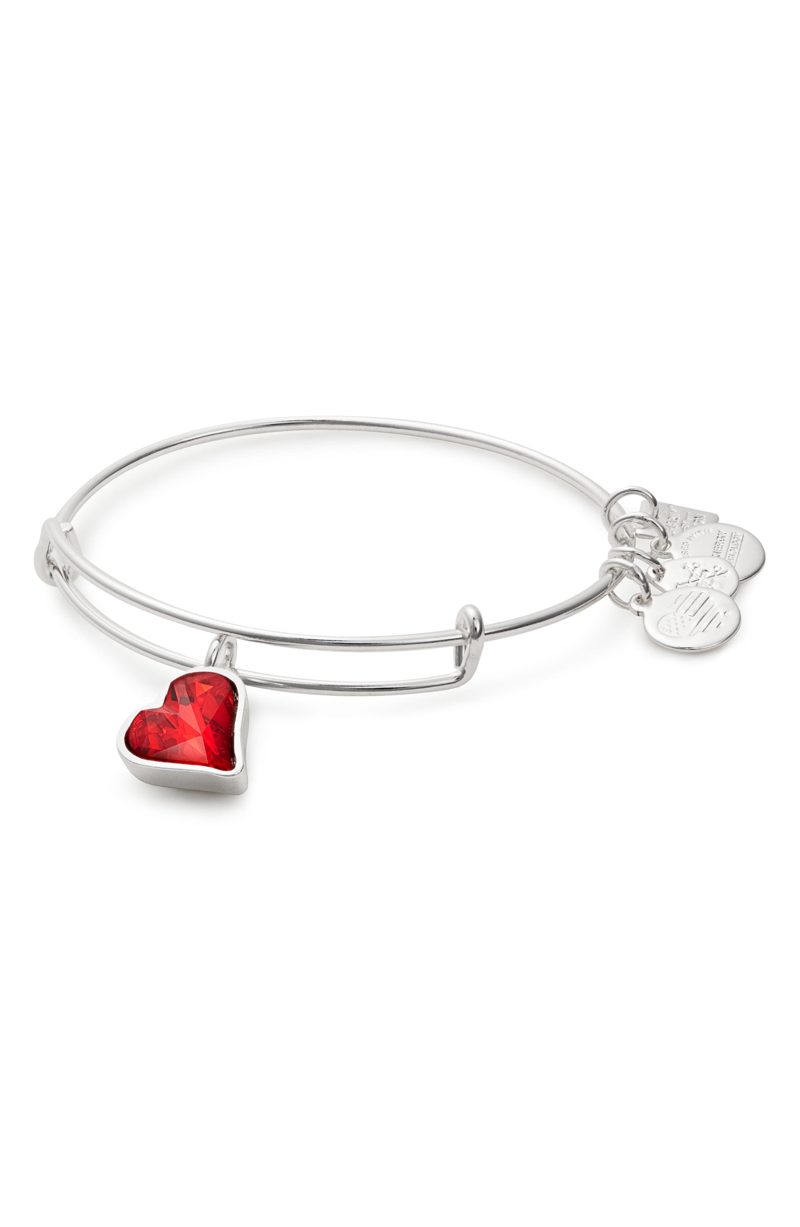(PRODUCT) RED Heart of Strength Expandable Charm Bracelet,                         Main,                         color, Silver