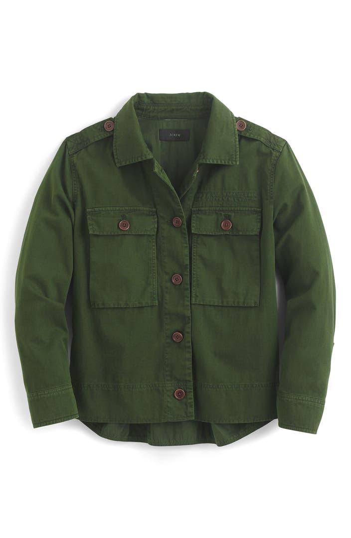 Safari Shirt Cognac Heels: J.Crew Garment Dyed Safari Shirt Jacket (Regular & Petite