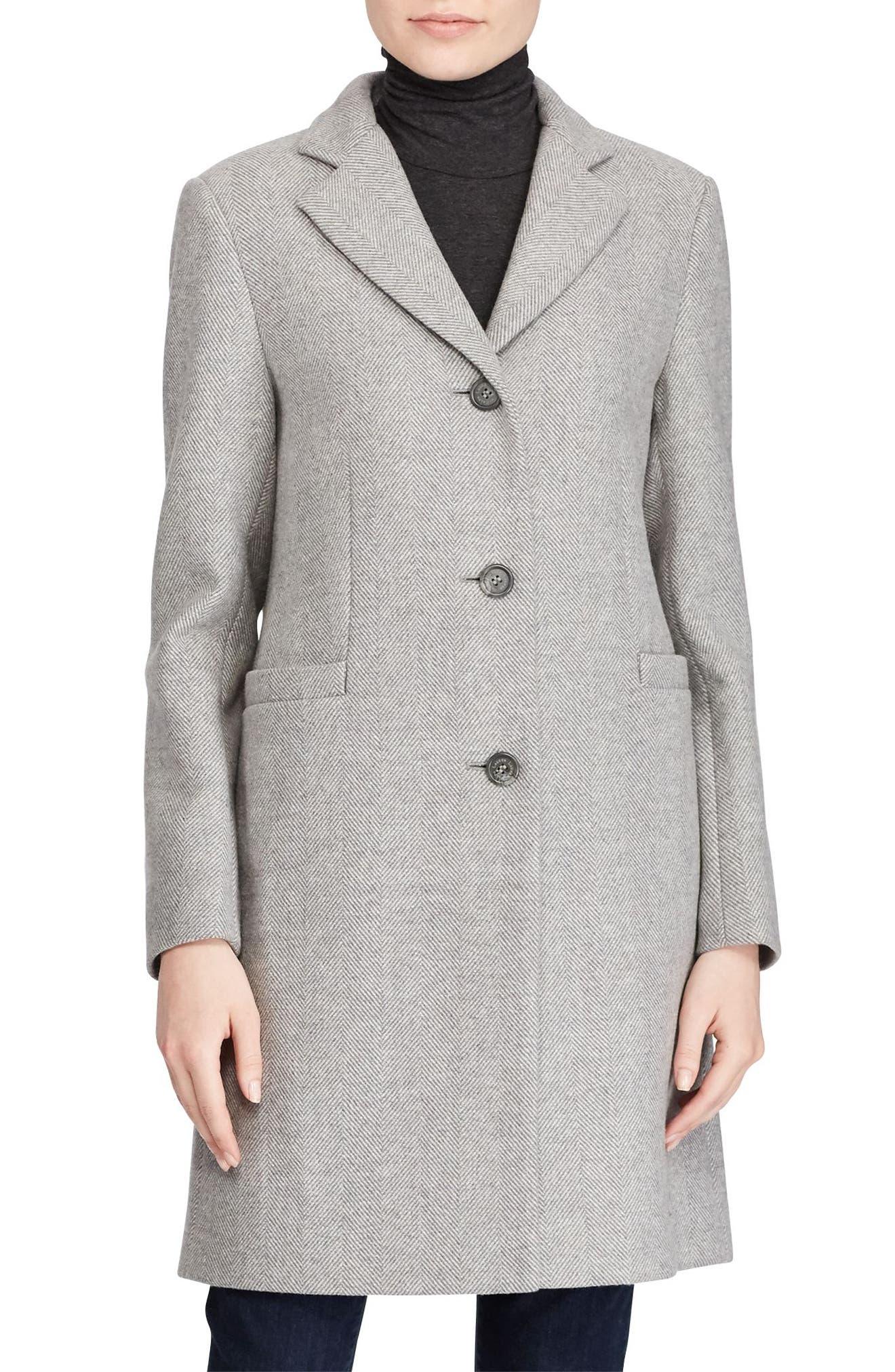 Lauren Ralph Lauren Wool Blend Reefer Coat (Regular & Petite)