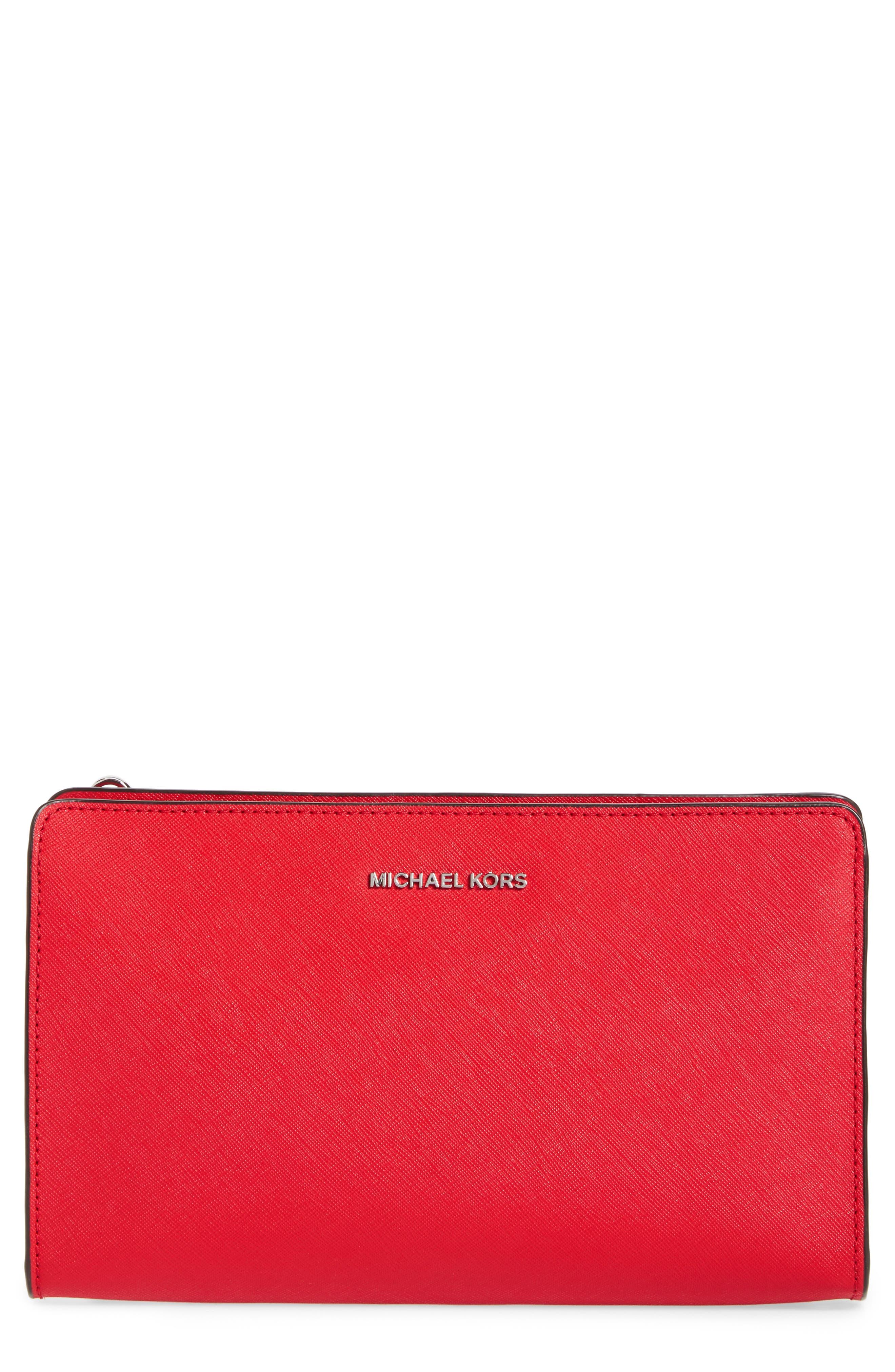 'Large Jet Set Travel' Crossbody Bag,                             Main thumbnail 1, color,                             Bright Red