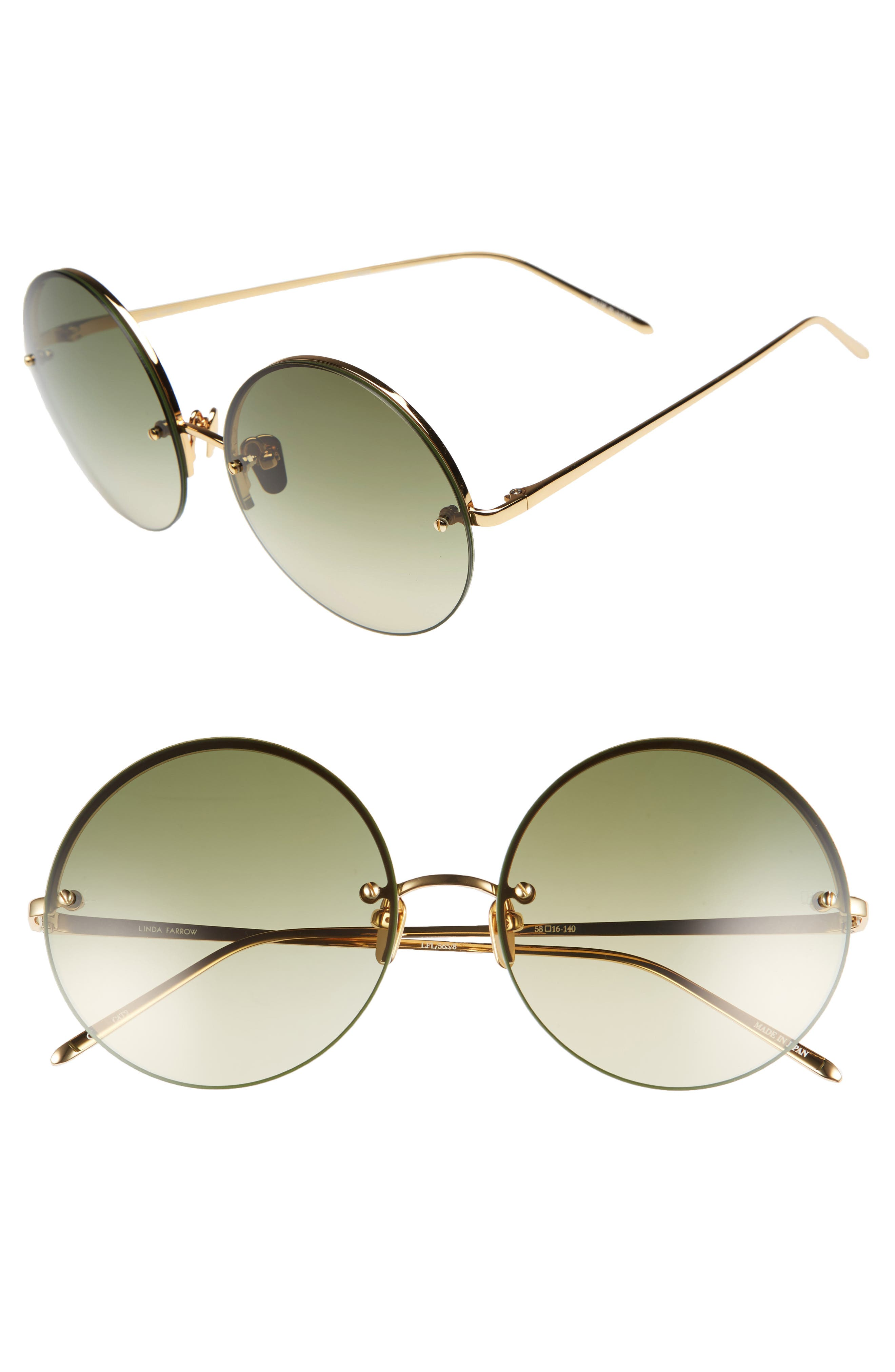 LINDA FARROW 58mm Gradient Round Sunglasses