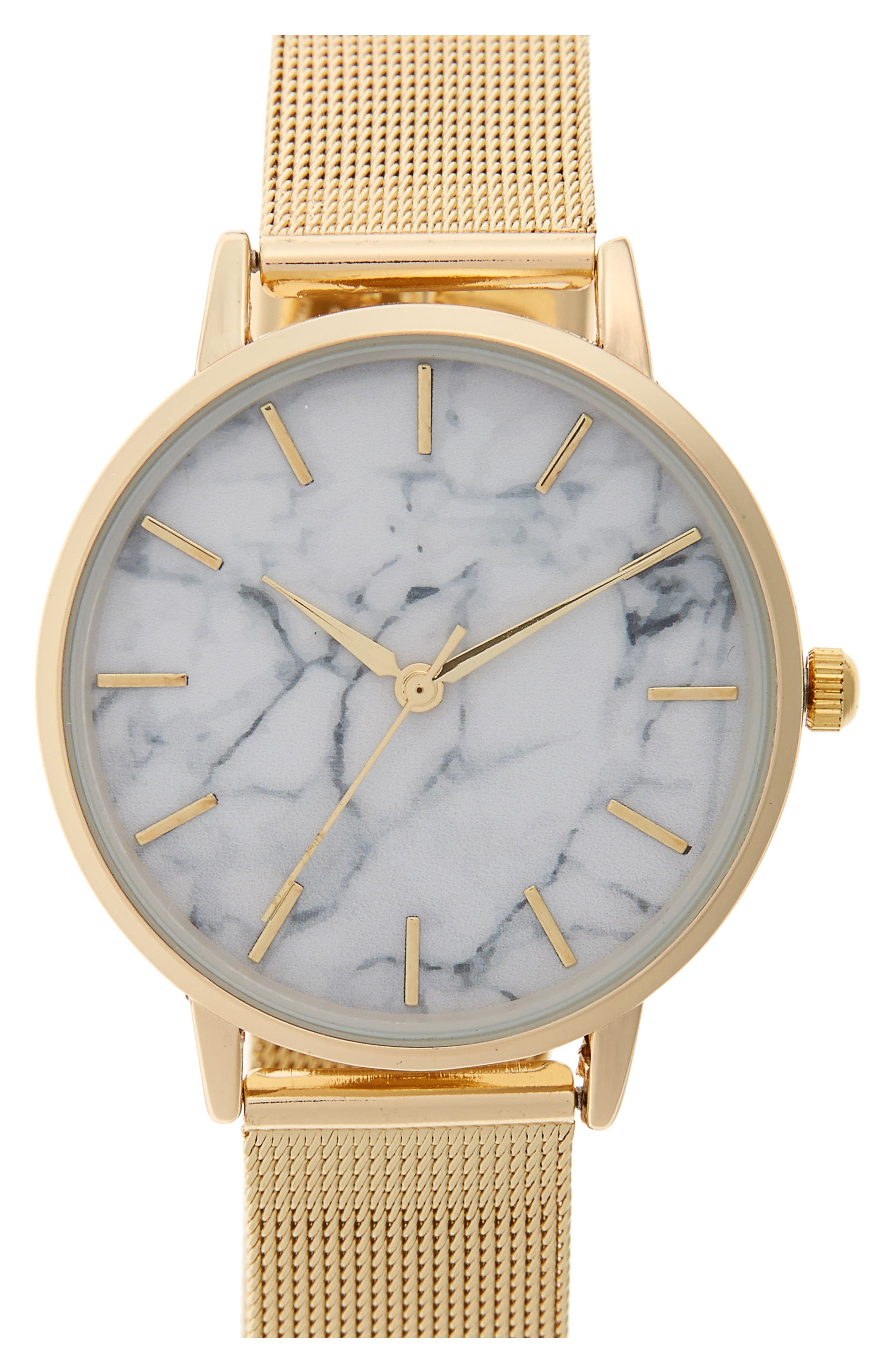 Mesh Strap Watch,                             Main thumbnail 1, color,                             Gold/ White Marble
