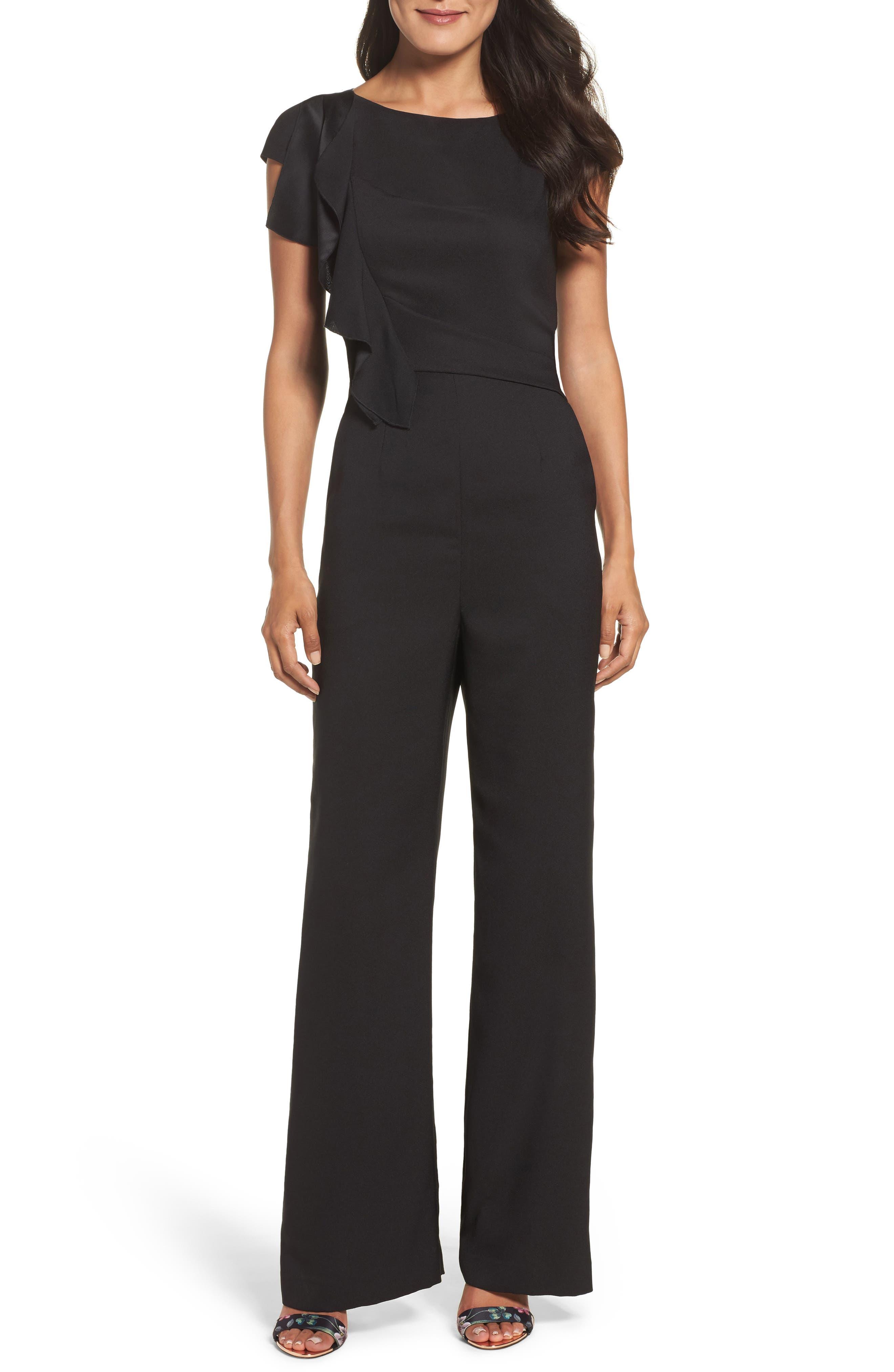 Alternate Image 1 Selected - Eliza J Ruffle Sleeve Crepe Jumpsuit