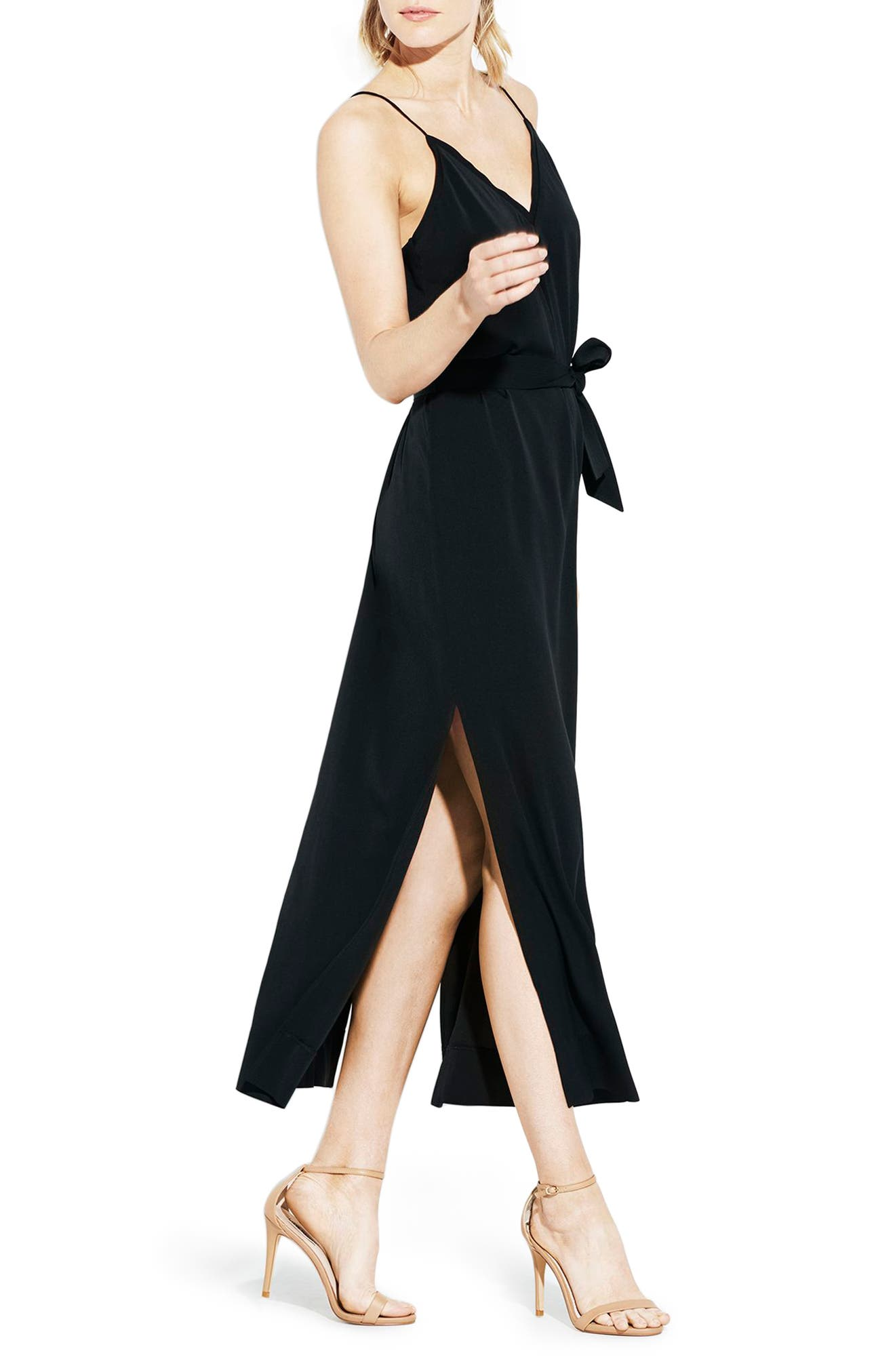 The Niche Silk Dress,                         Main,                         color, Black
