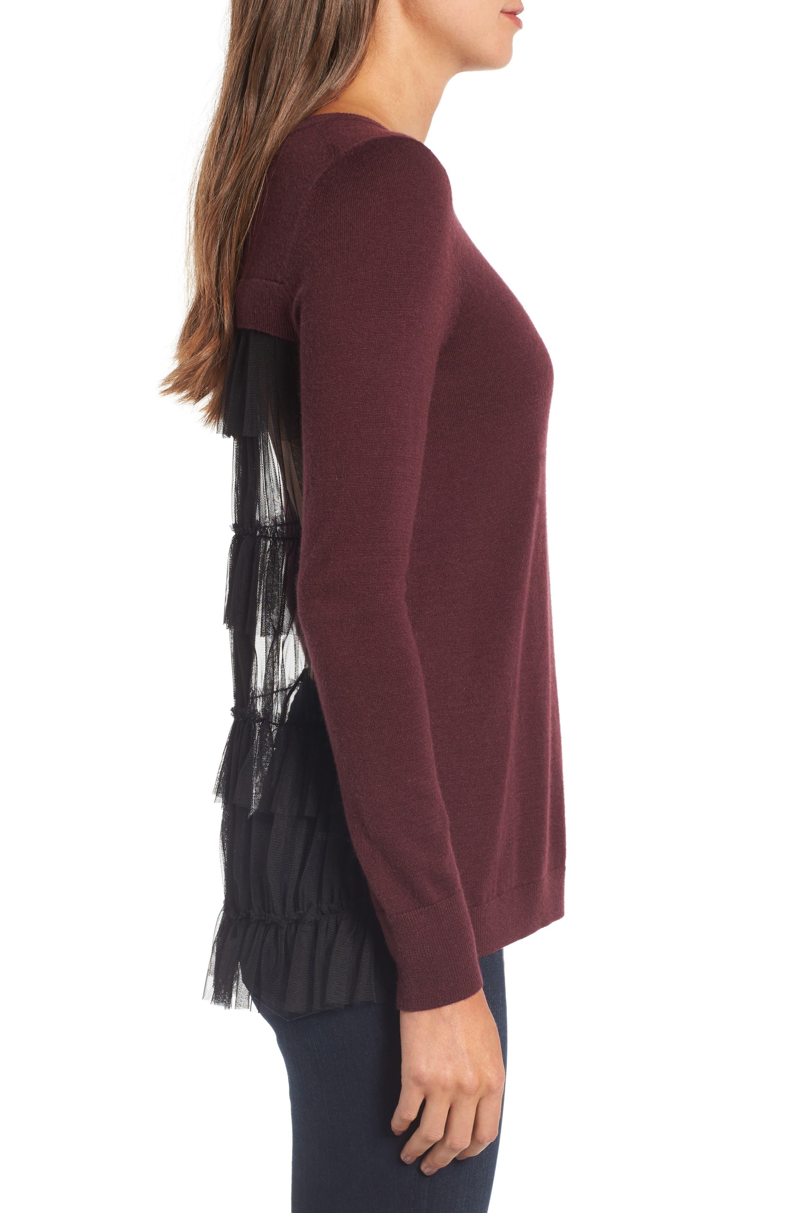 Alternate Image 2  - Chelsea28 Tulle Back Sweater
