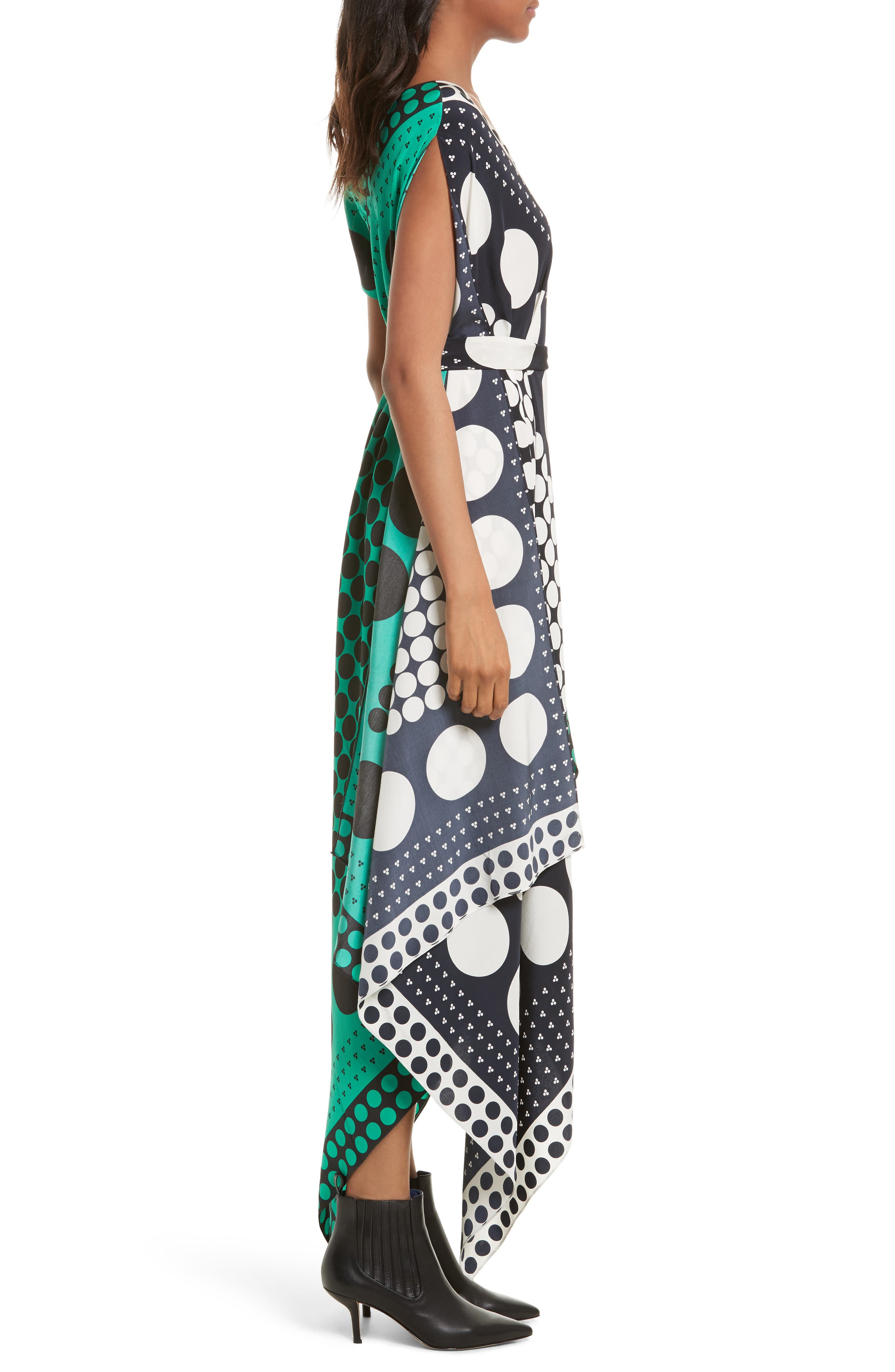 Asymmetrical Scarf Maxi Dress,                             Alternate thumbnail 3, color,                             Brunel Navy/ Evergreen