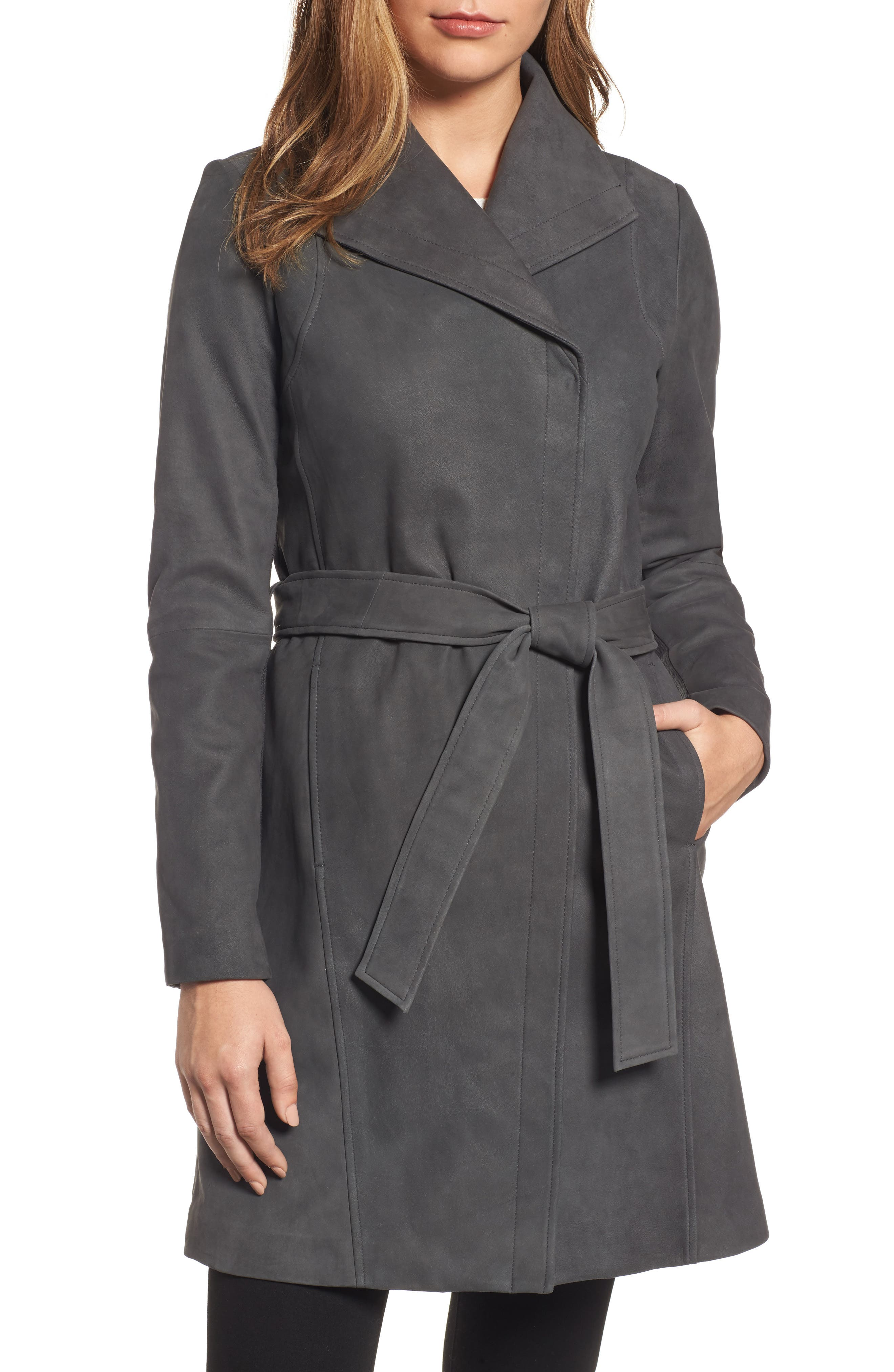 Jacqueline Belted Leather Trench Coat,                         Main,                         color, Steel