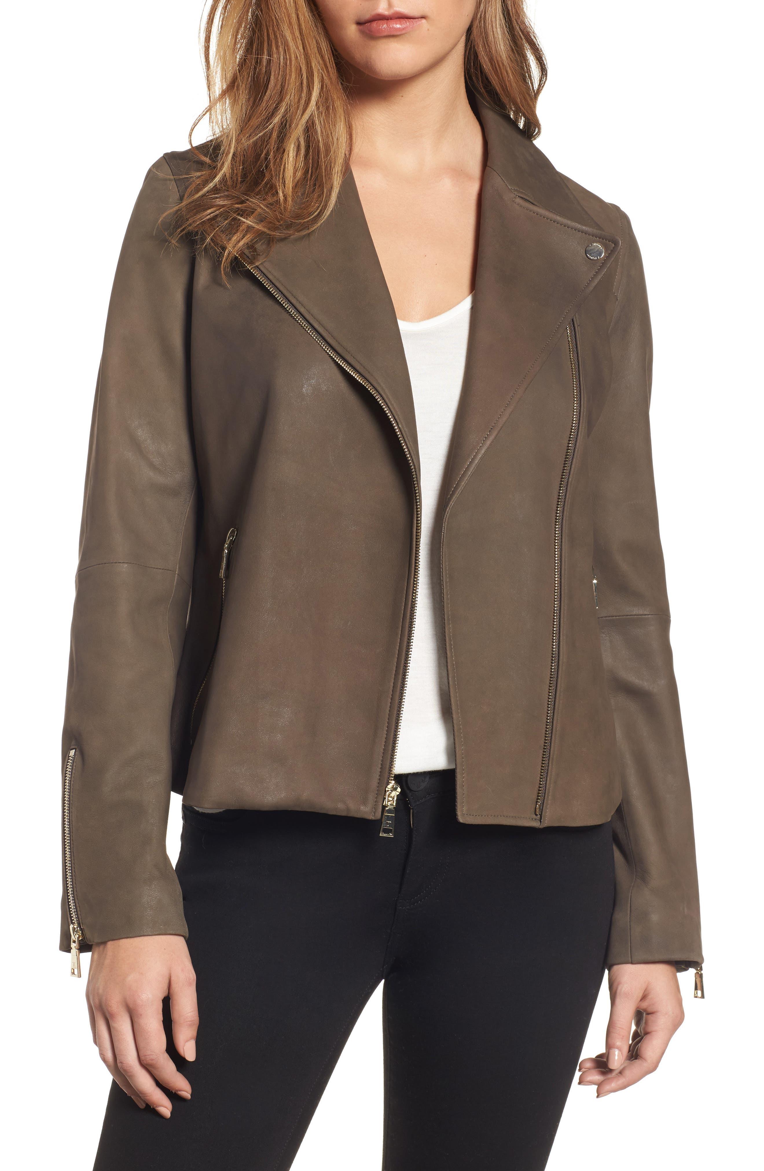 Main Image - Tahari Skylar Leather Moto Jacket