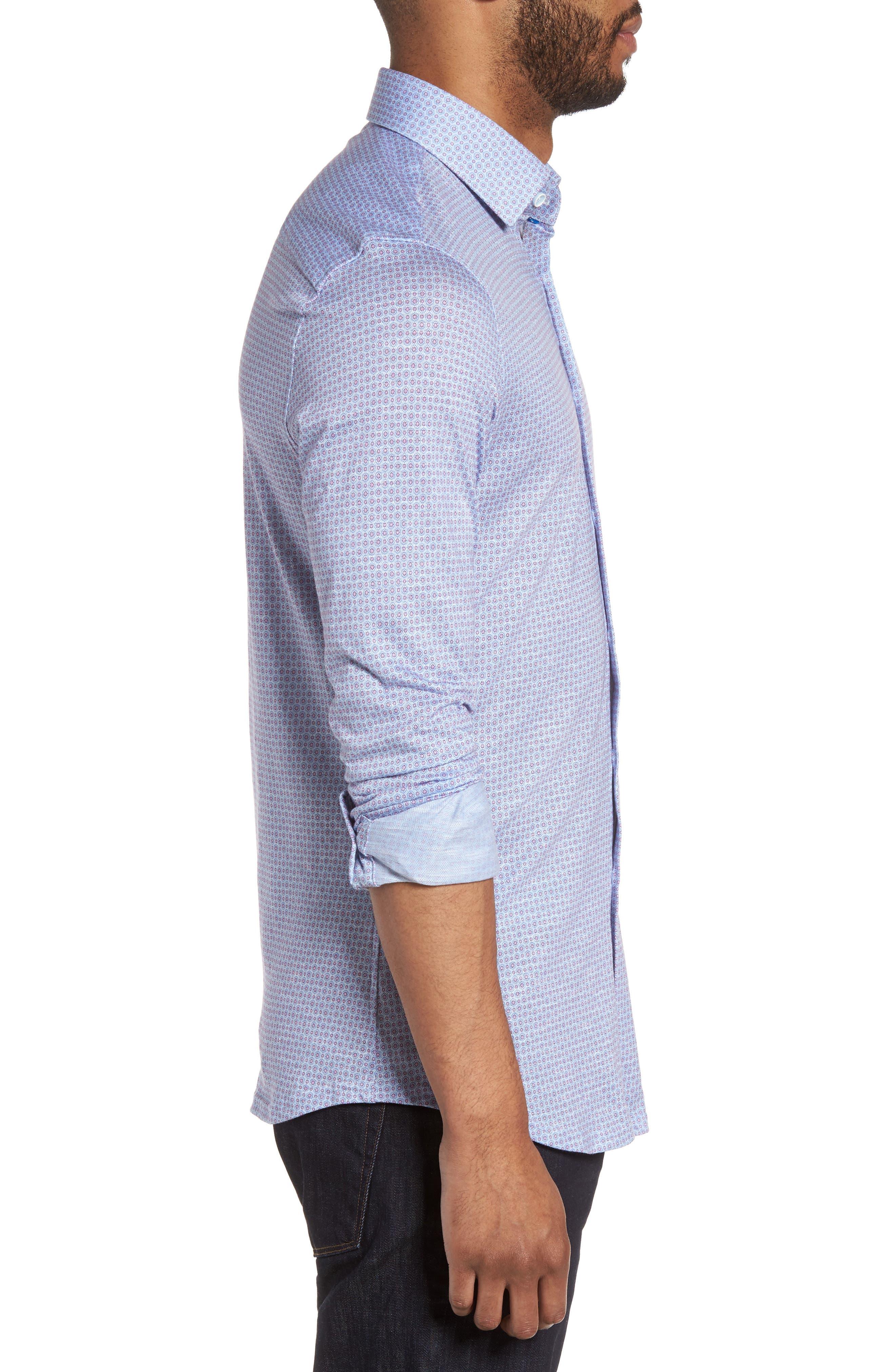 Honeycomb Geo Sport Shirt,                             Alternate thumbnail 3, color,                             Sky Blue