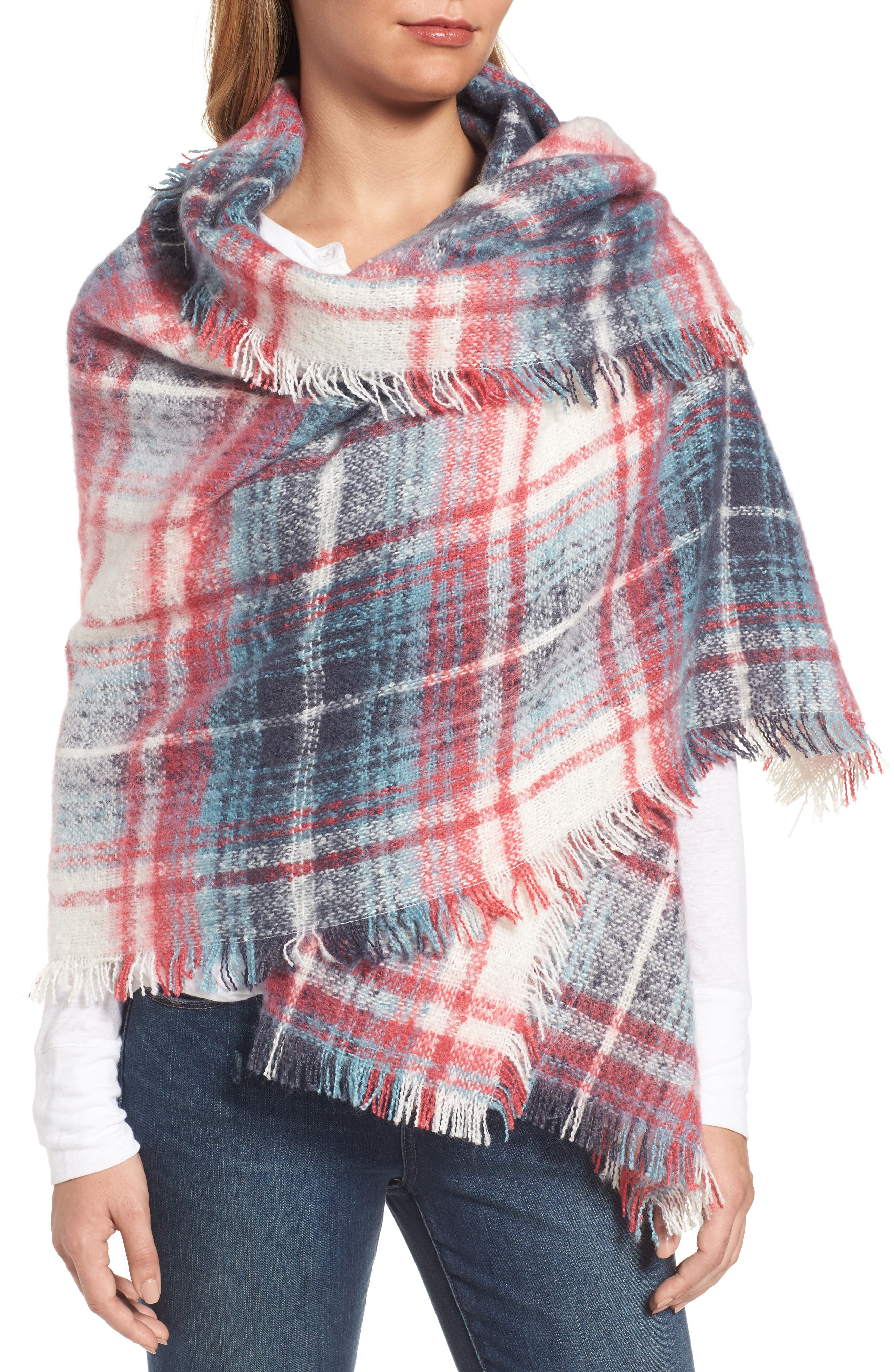 Tartan Blanket Wrap,                             Alternate thumbnail 4, color,                             Pink Combo