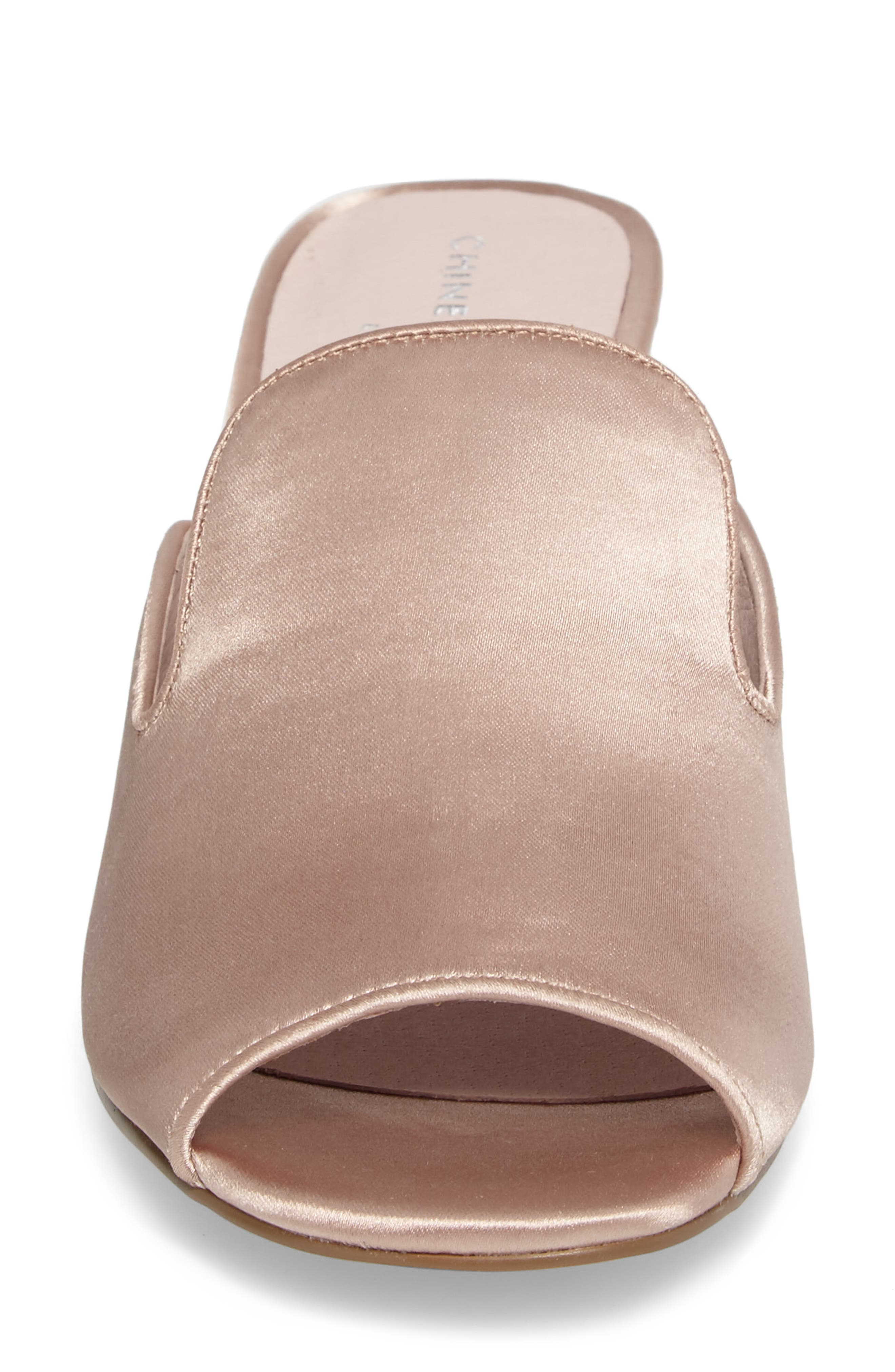 Mara Glitter Loafer Mule,                             Alternate thumbnail 4, color,                             Summer Nude Satin