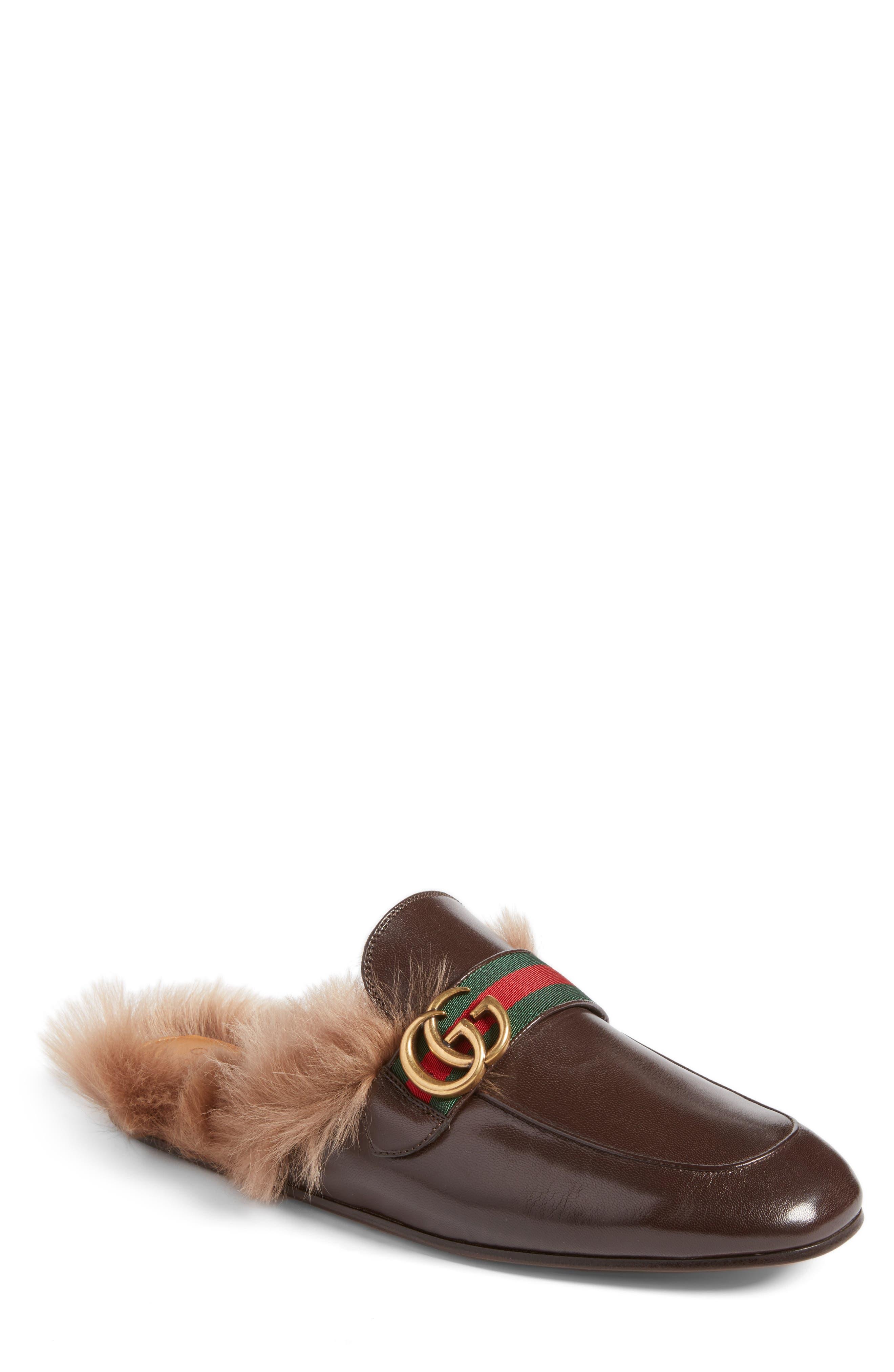 Gucci New Princetown Genuine Shearling Mule (Men)