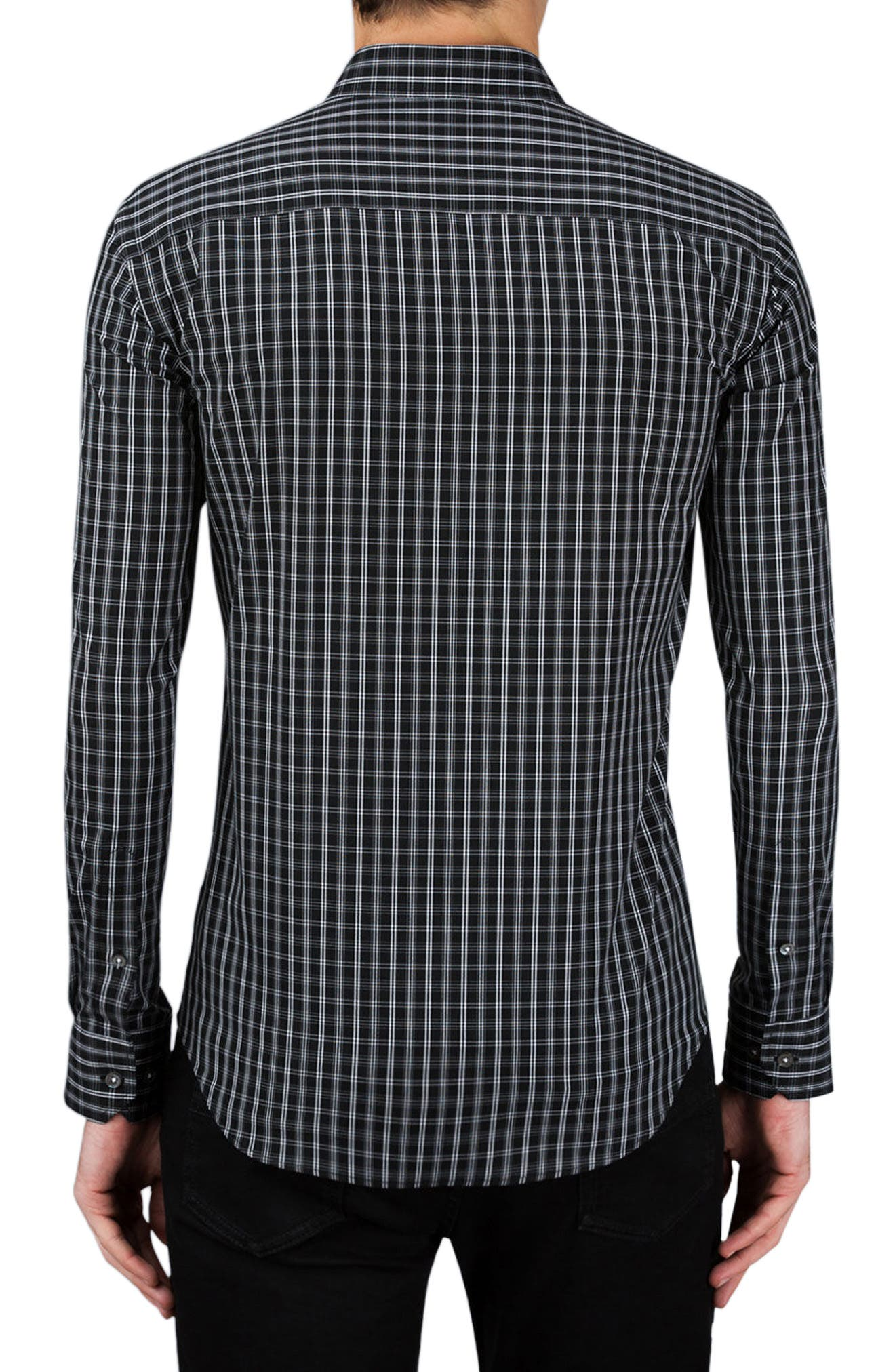 Classic Fit Plaid Sport Shirt,                             Alternate thumbnail 2, color,                             Black