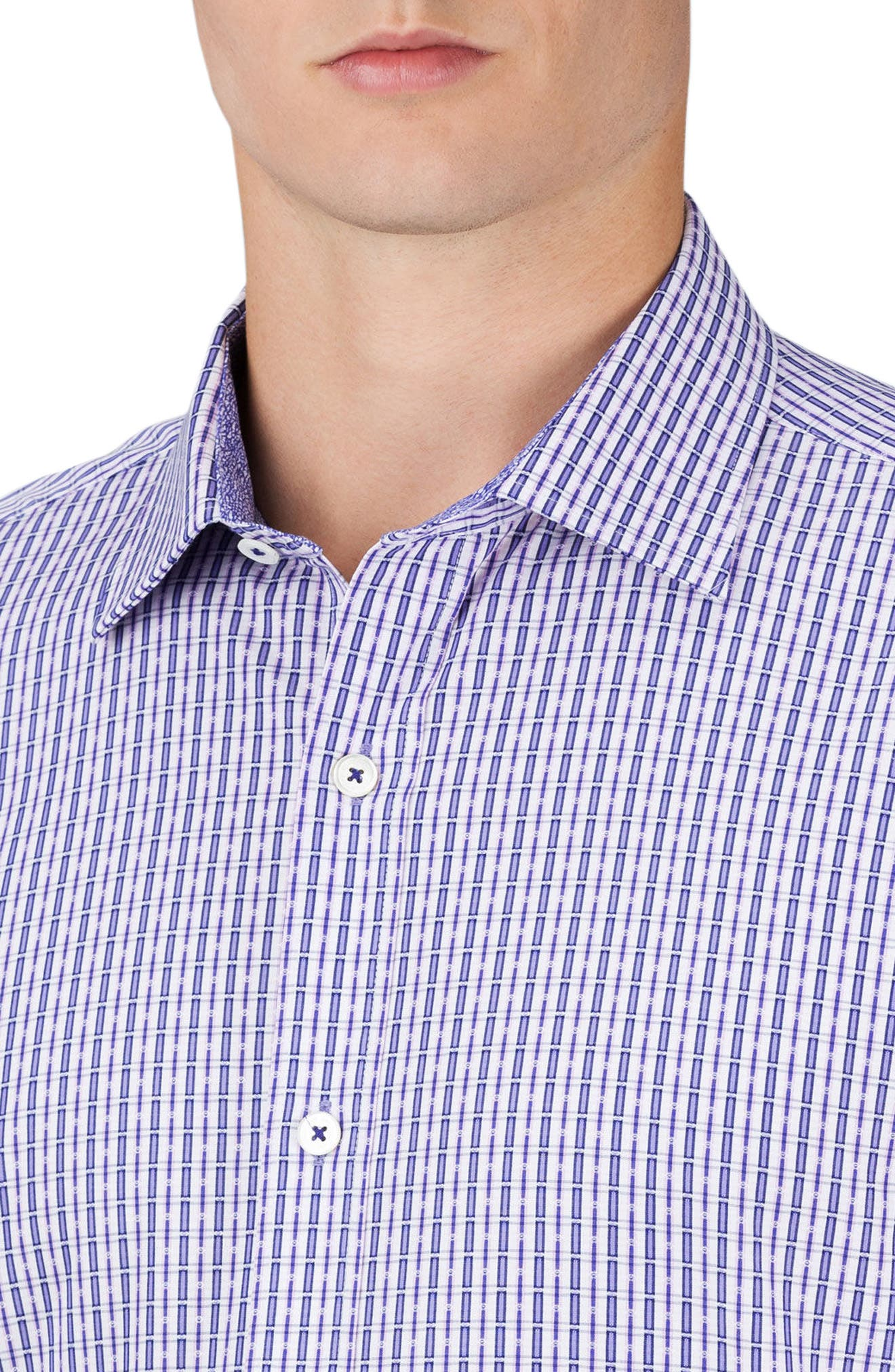 Shaped Fit Check Sport Shirt,                             Alternate thumbnail 3, color,                             Lilac