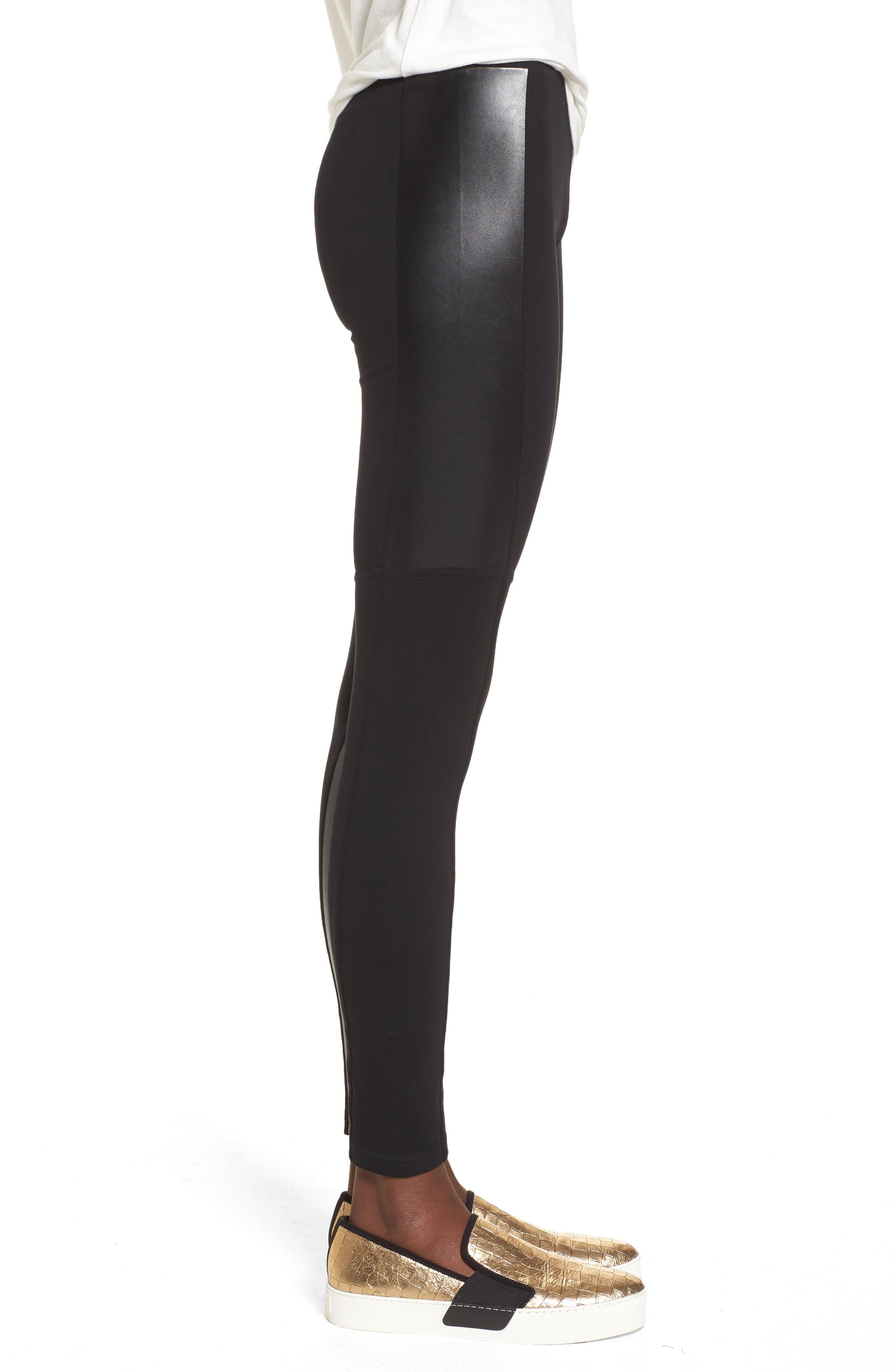 Alternate Image 3  - BP. Faux Leather Mixed Moto Leggings