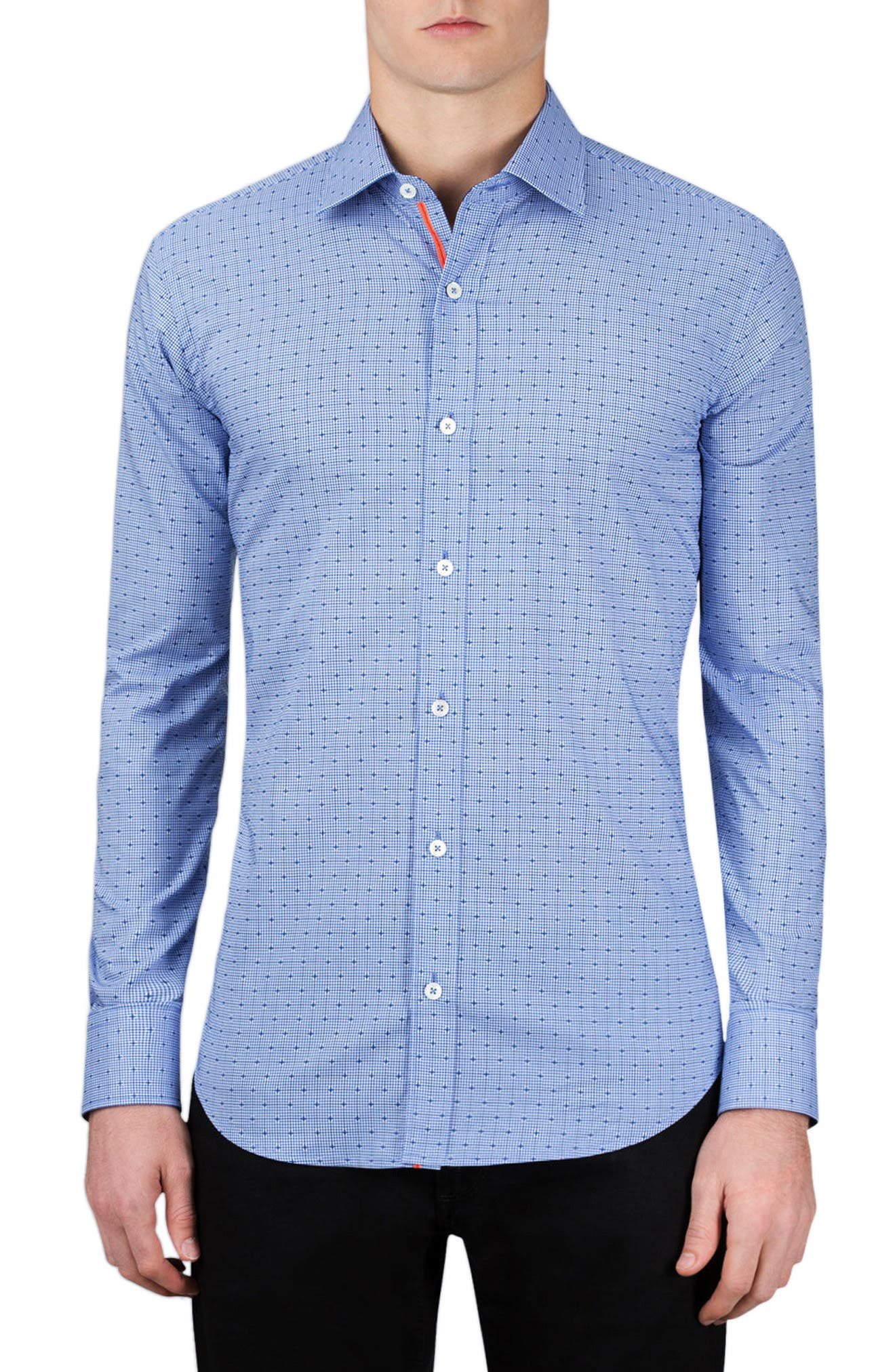 Classic Fit Layered Gingham Print Sport Shirt,                         Main,                         color, Navy