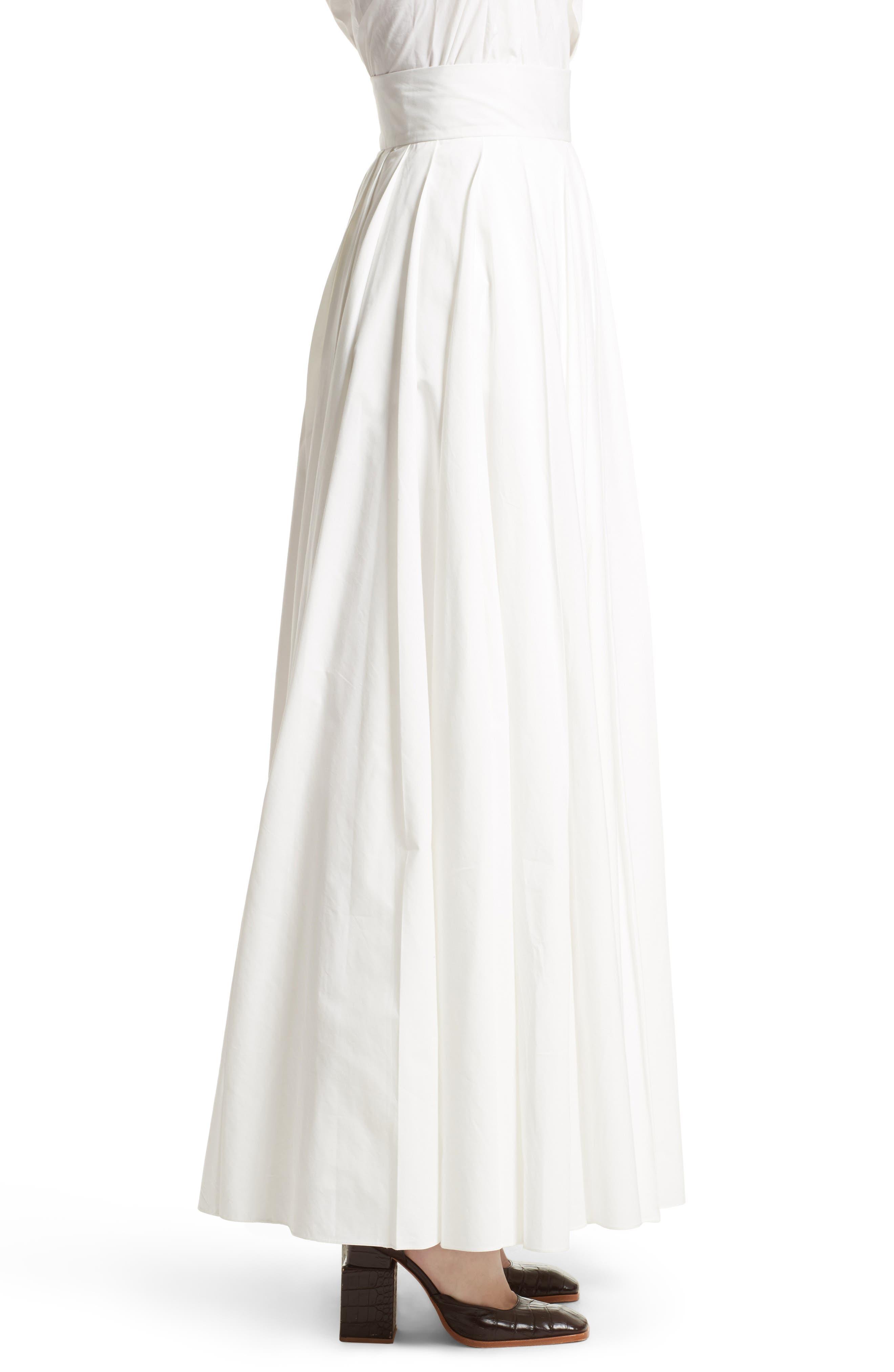 Pleated Maxi Skirt,                             Alternate thumbnail 5, color,                             White