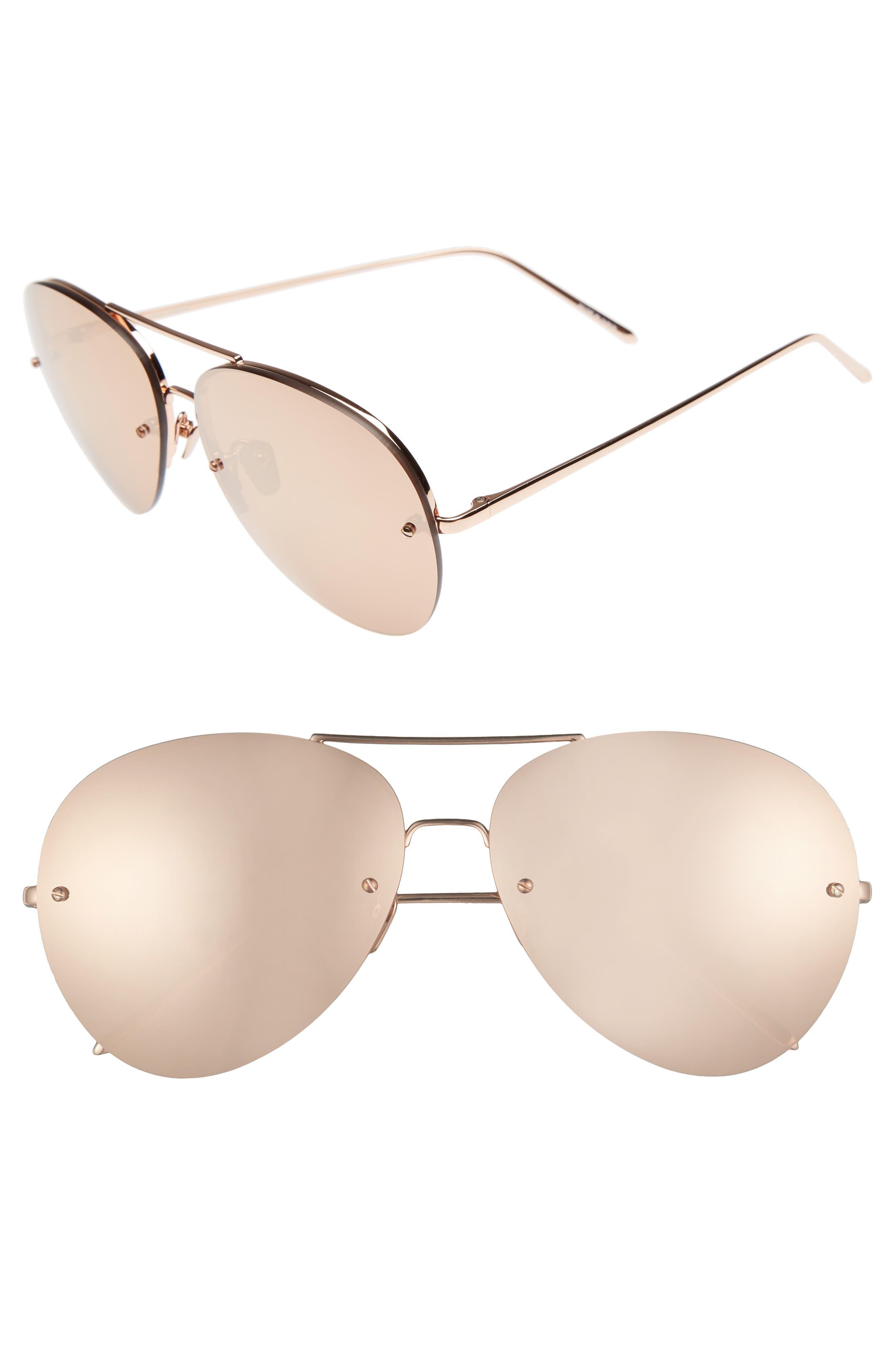 LINDA FARROW 63mm Titanium Aviator Sunglasses
