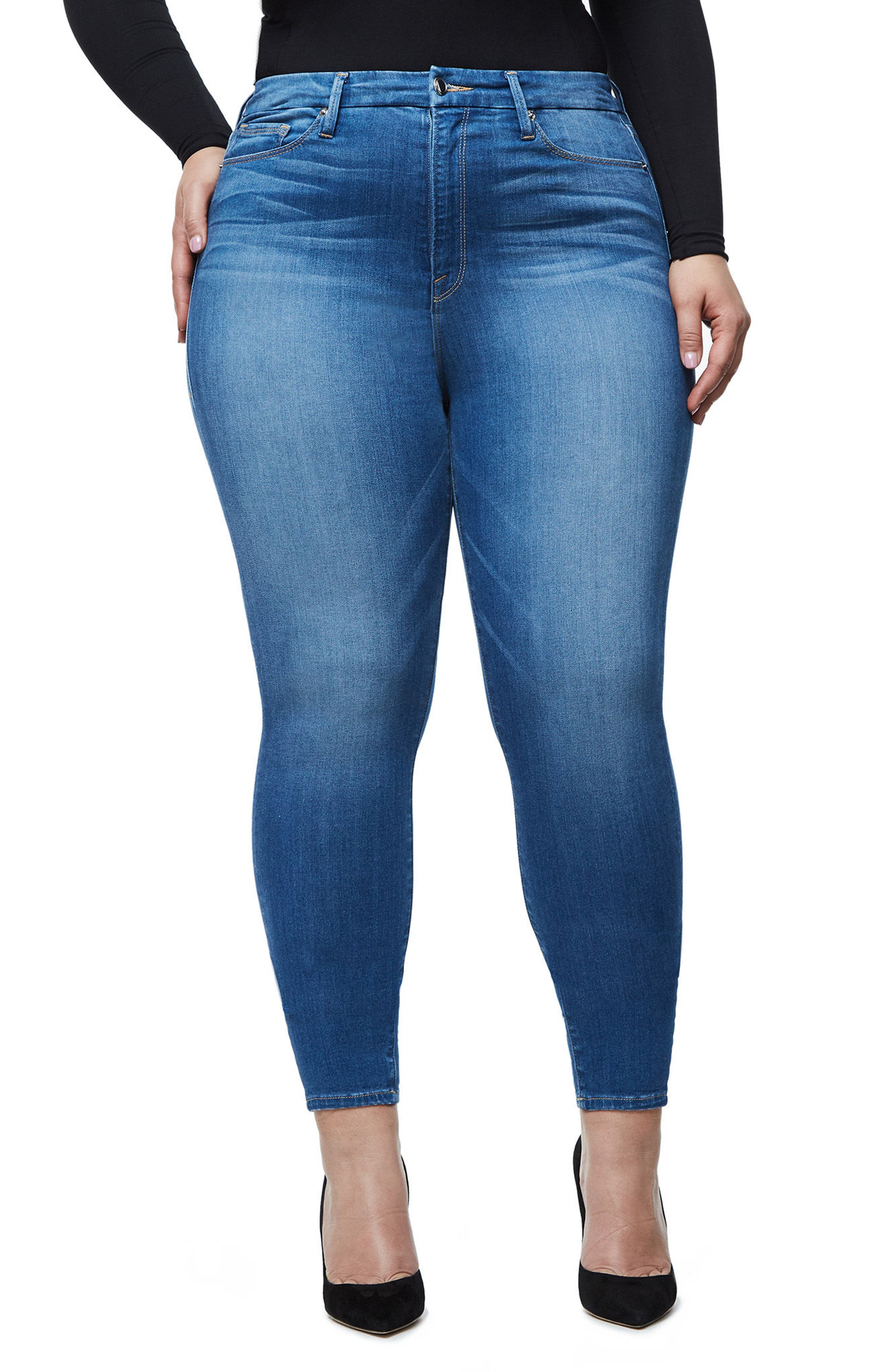 Alternate Image 7  - Good American Good Waist High Waist Crop Skinny Jeans (Blue 056) (Extended Sizes)
