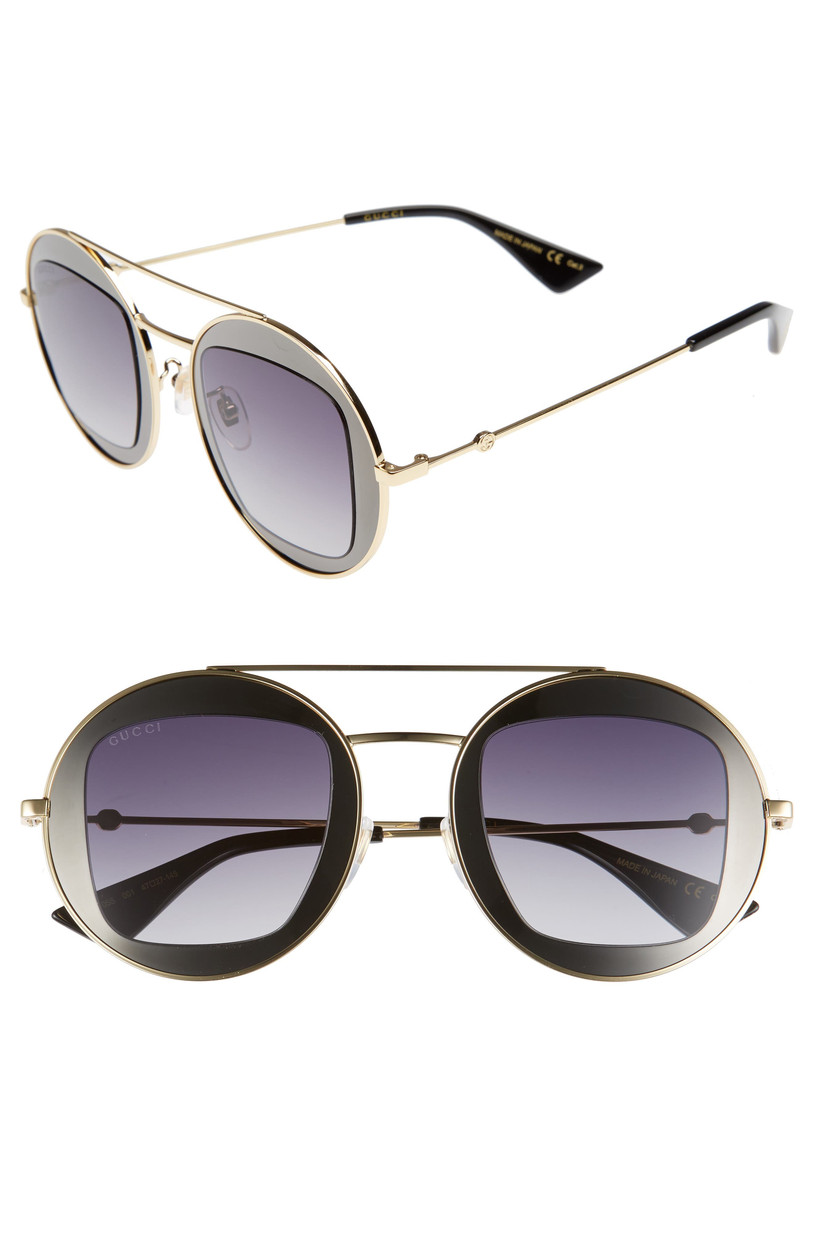 47mm Round Sunglasses,                             Main thumbnail 1, color,                             Matte Gold/ Grey