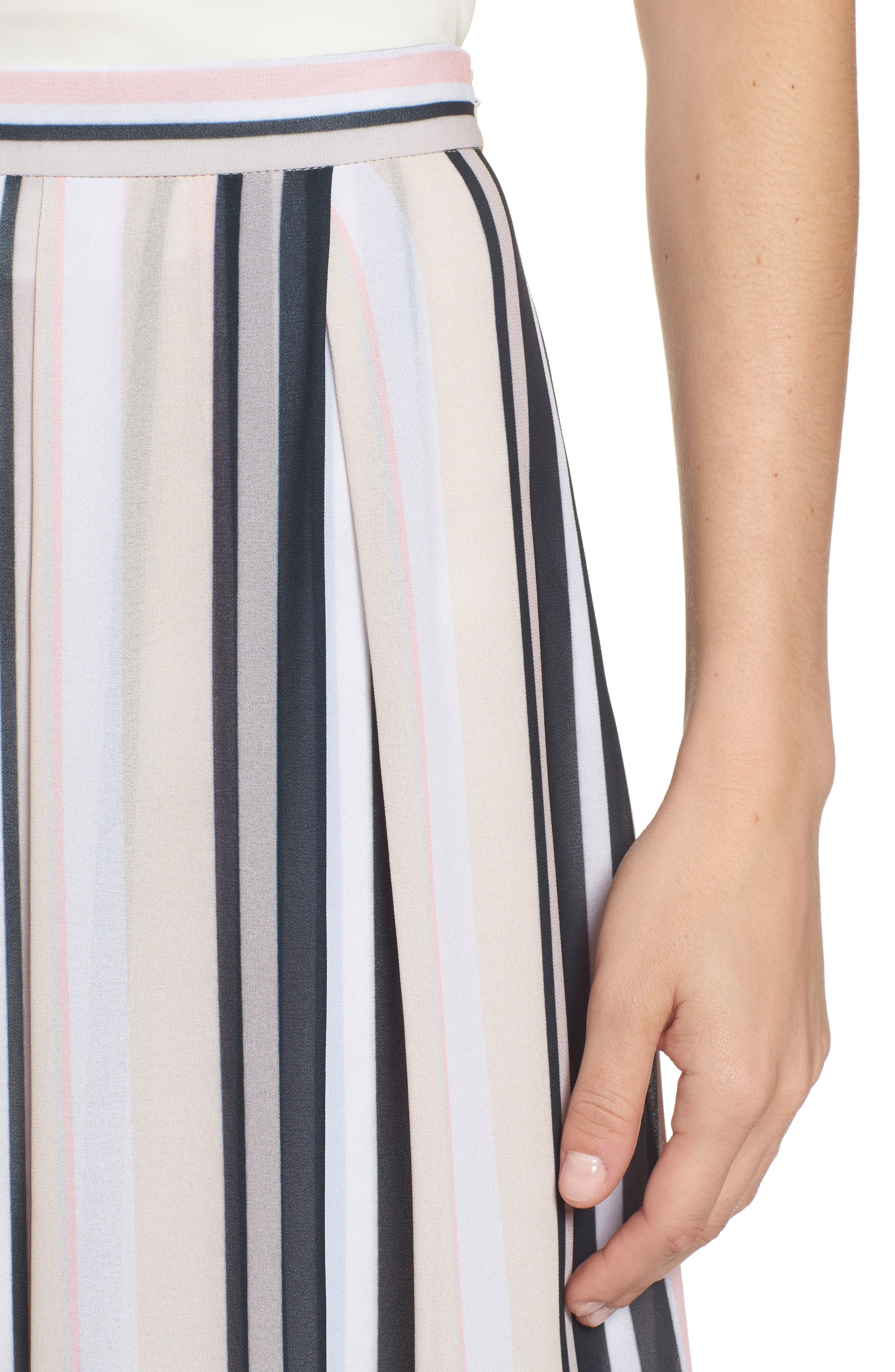 Stripe A-Line Skirt,                             Alternate thumbnail 4, color,                             Black/ Beach Combo