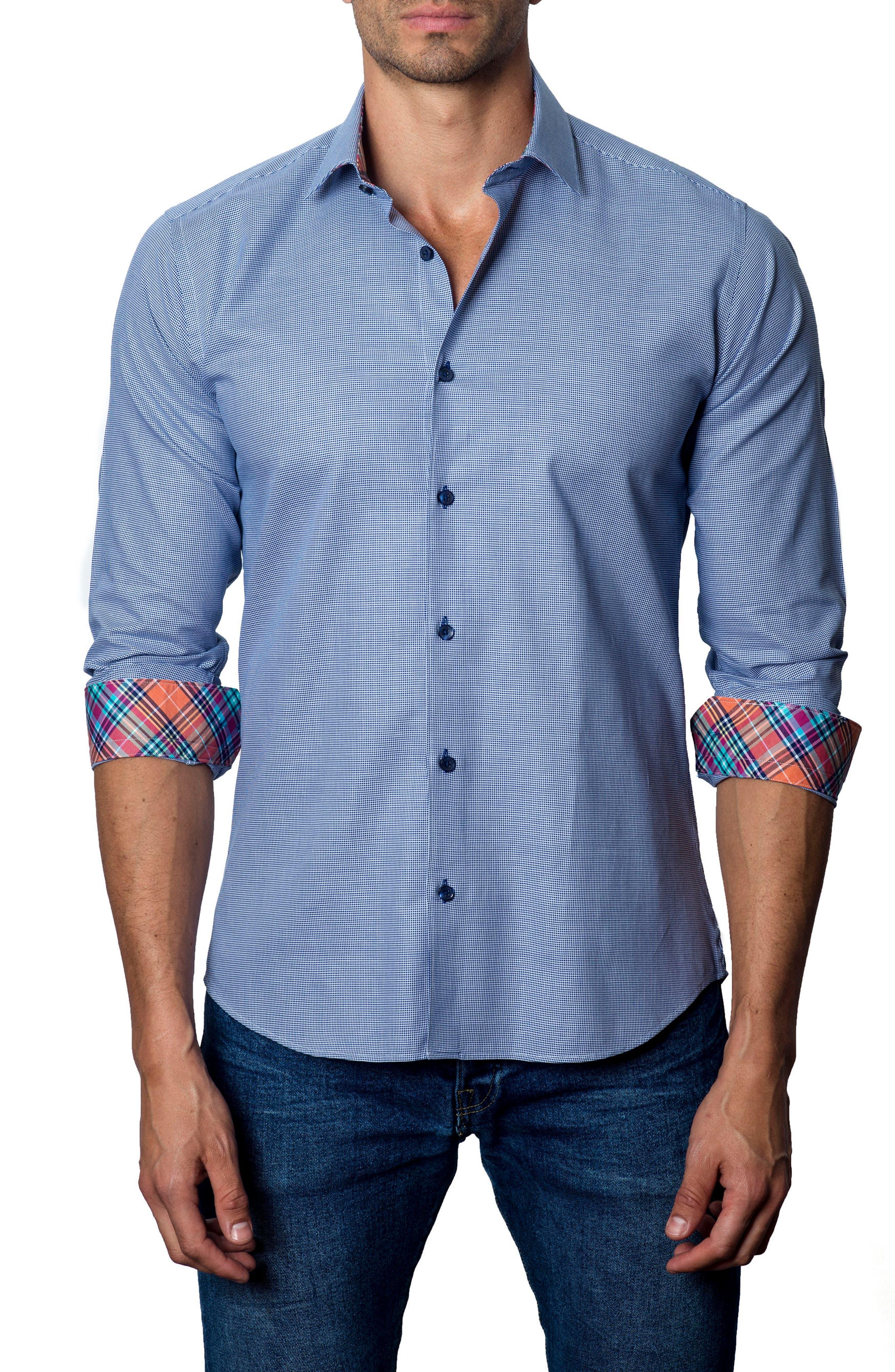 JARED LANG Trim Fit Micro Grid Sport Shirt