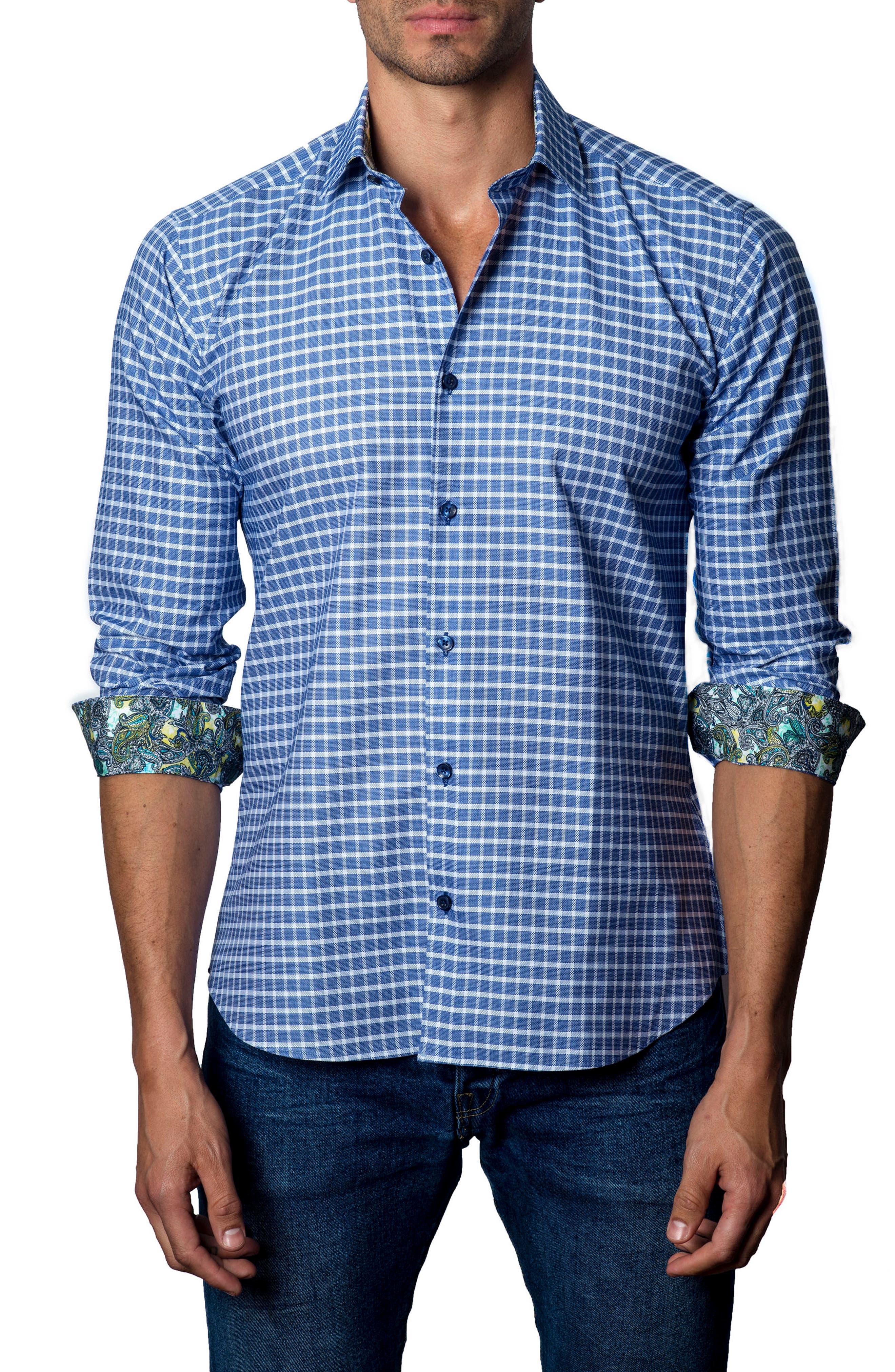 JARED LANG Trim Fit Grid Sport Shirt