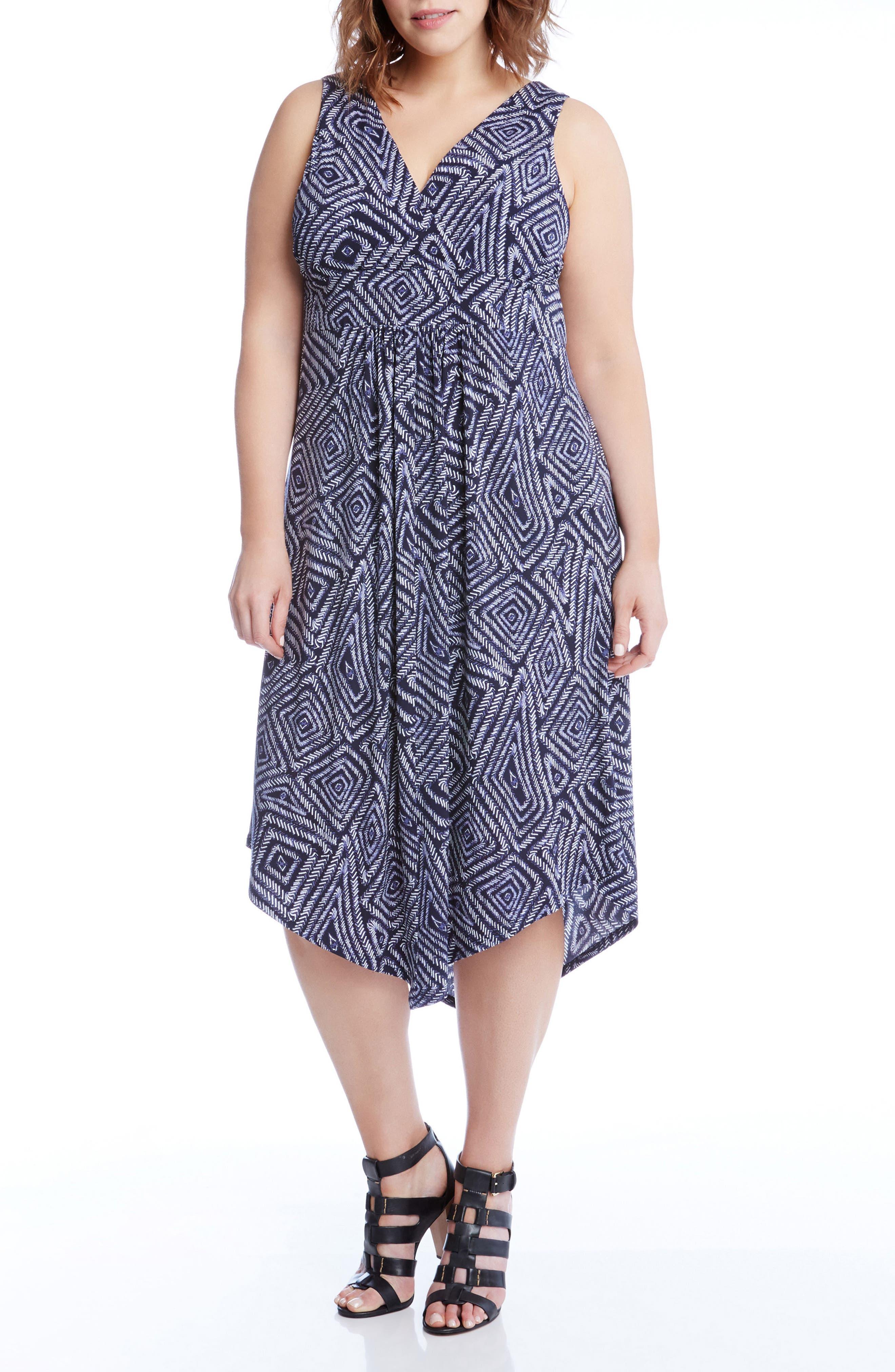 Alternate Image 4  - Karen Kane Asymmetrical Hem Geo Print Midi Dress (Plus Size)