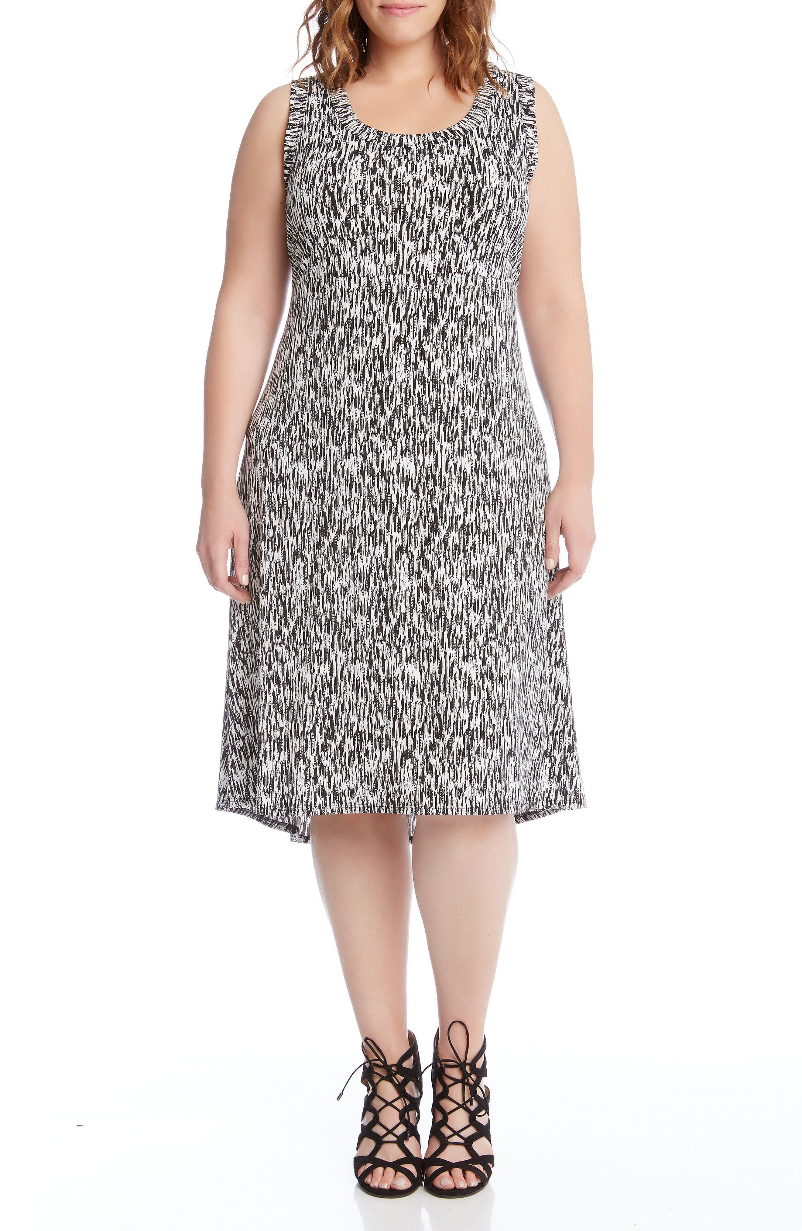 Alternate Image 1 Selected - Karen Kane Print High/Low Hem Dress (Plus Size)