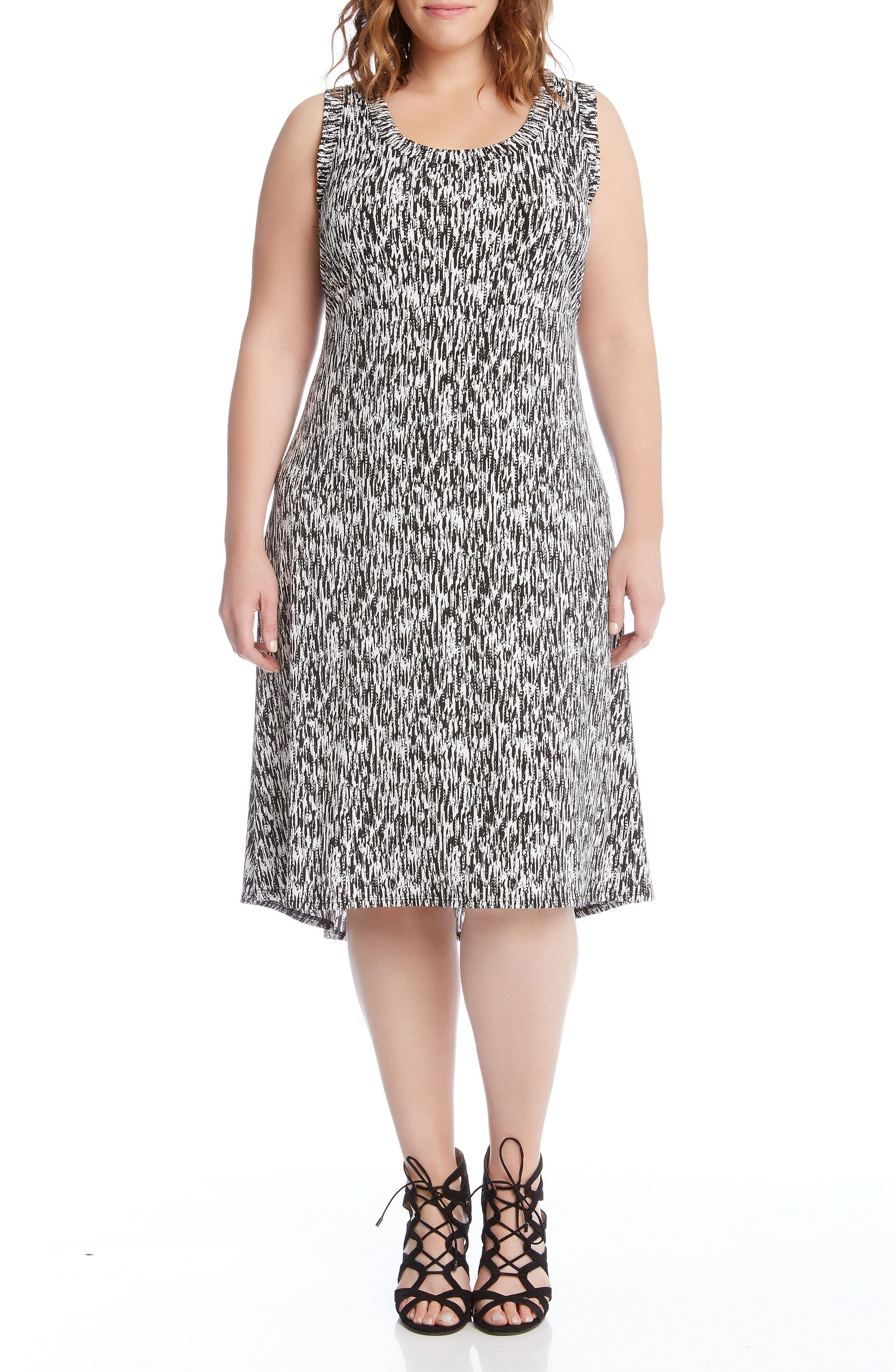 Main Image - Karen Kane Print High/Low Hem Dress (Plus Size)