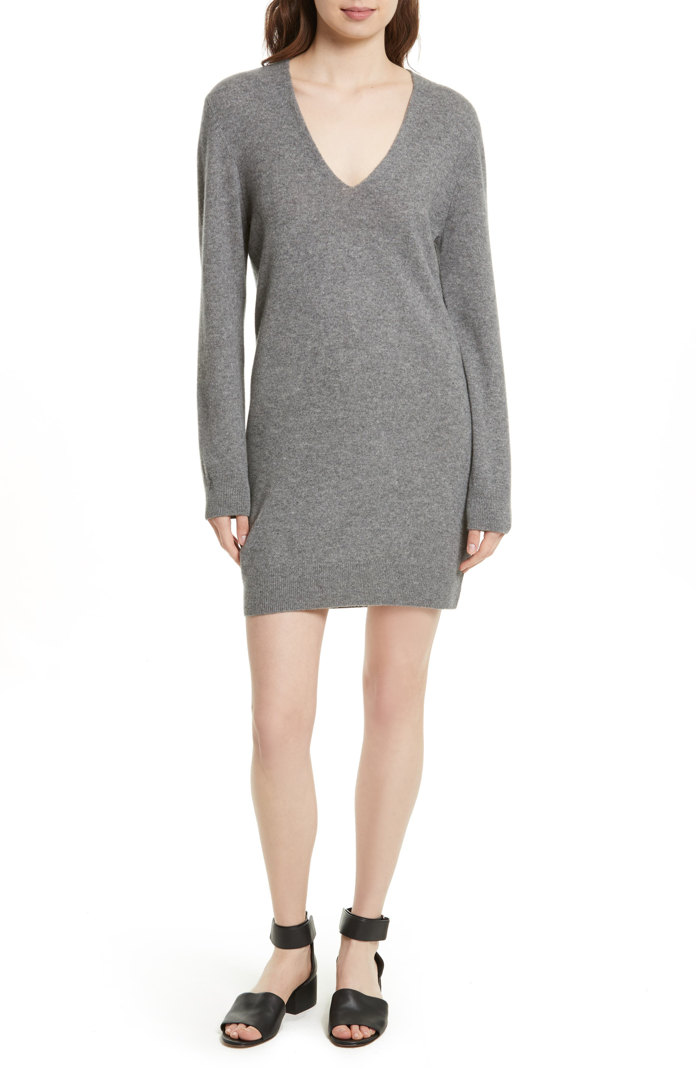 Rosemary V-Neck Cashmere Sweater Dress,                             Main thumbnail 1, color,                             Heather Grey