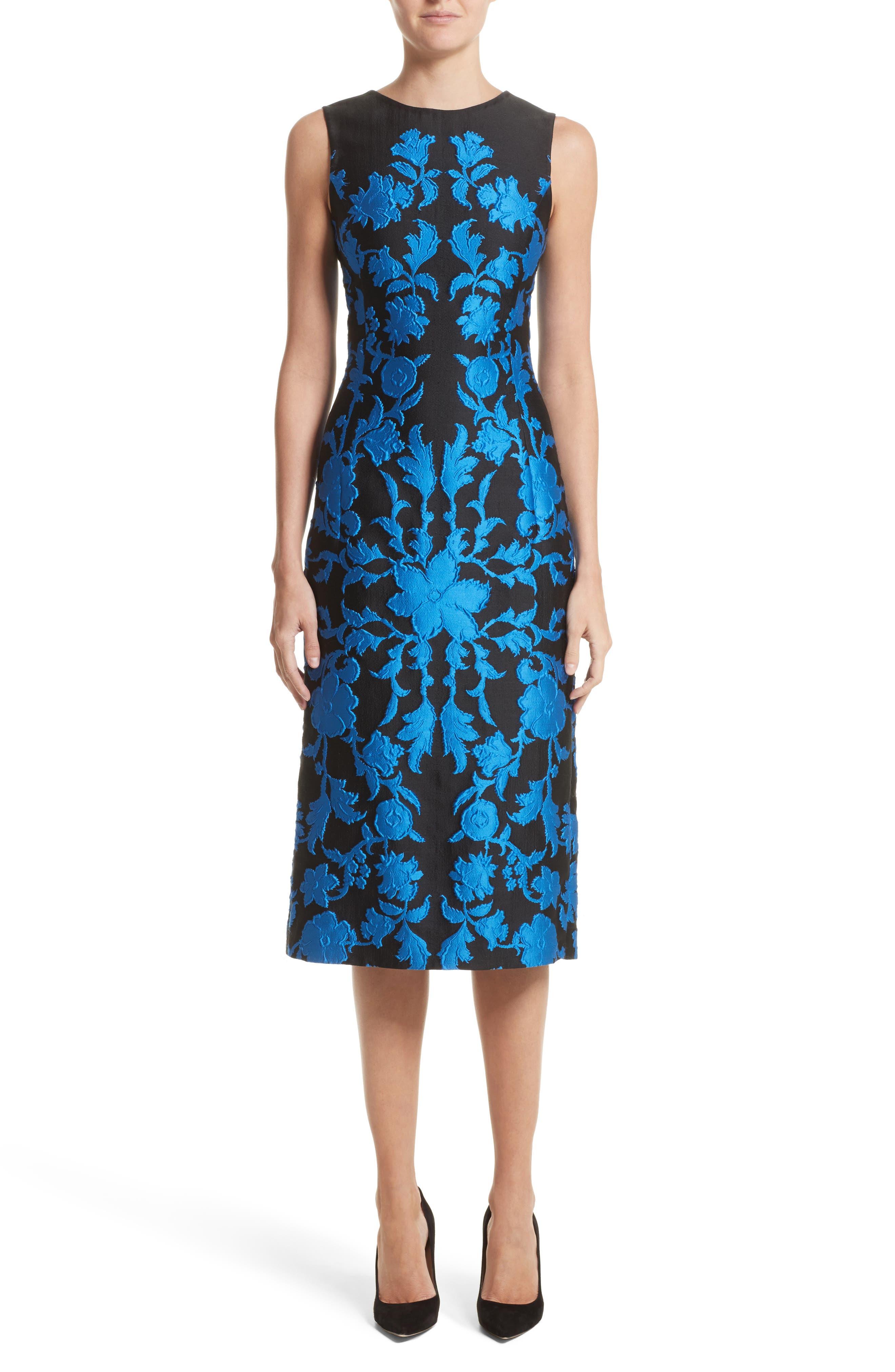 Matelassé Floral Jacquard Dress,                         Main,                         color, Sapphire