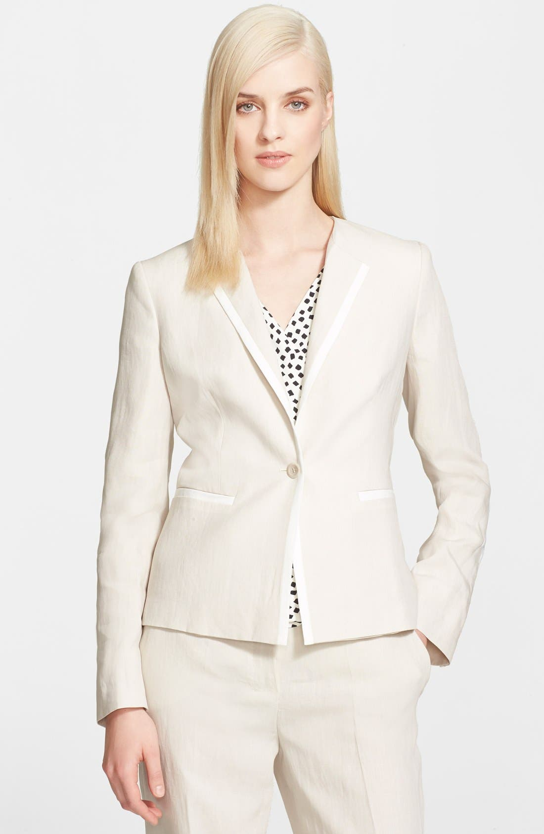 Alternate Image 1 Selected - Max Mara 'Ghinea' One-Button Linen Jacket