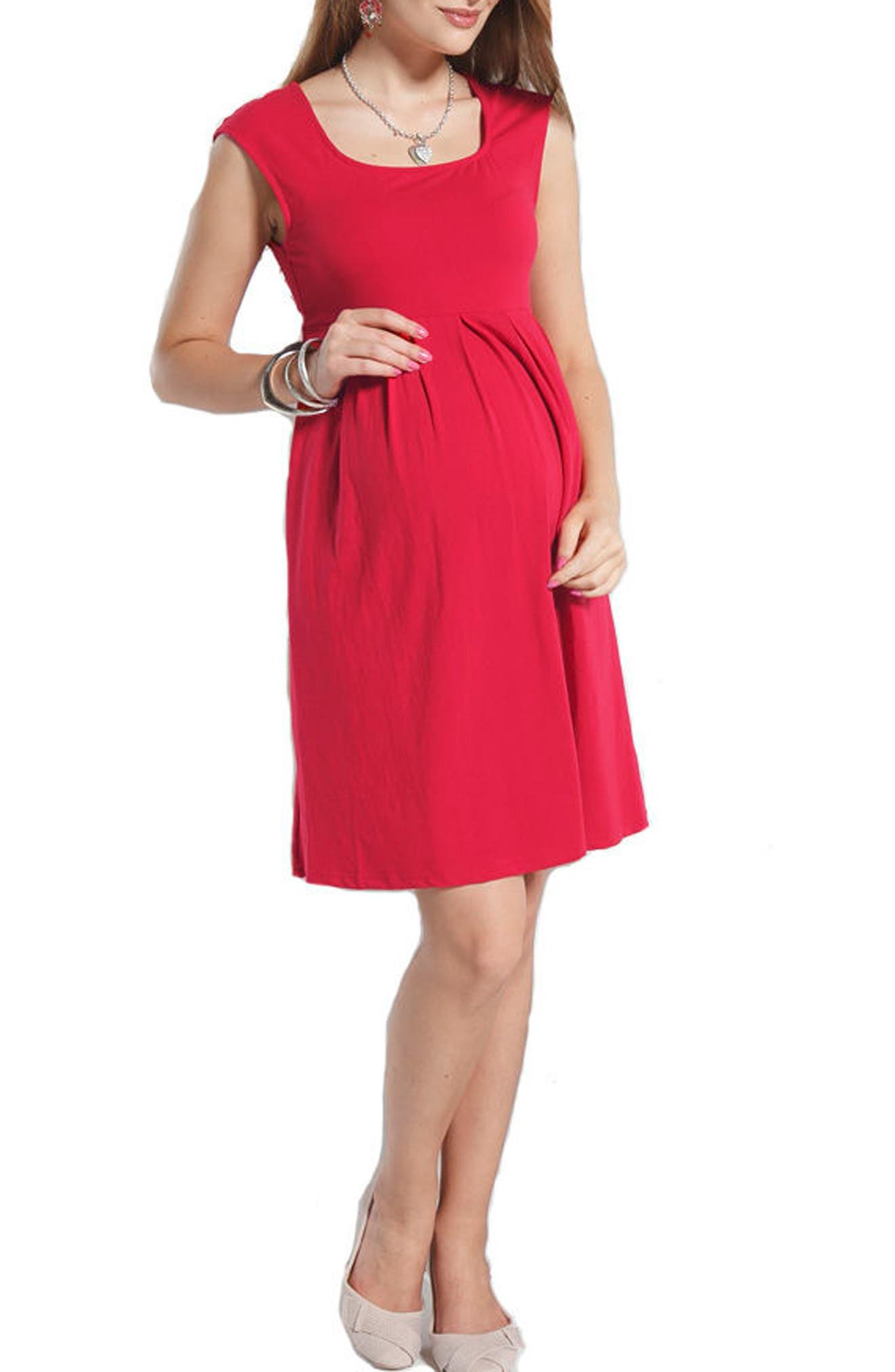 Stretch Cotton Maternity Dress,                         Main,                         color, Hot Pink