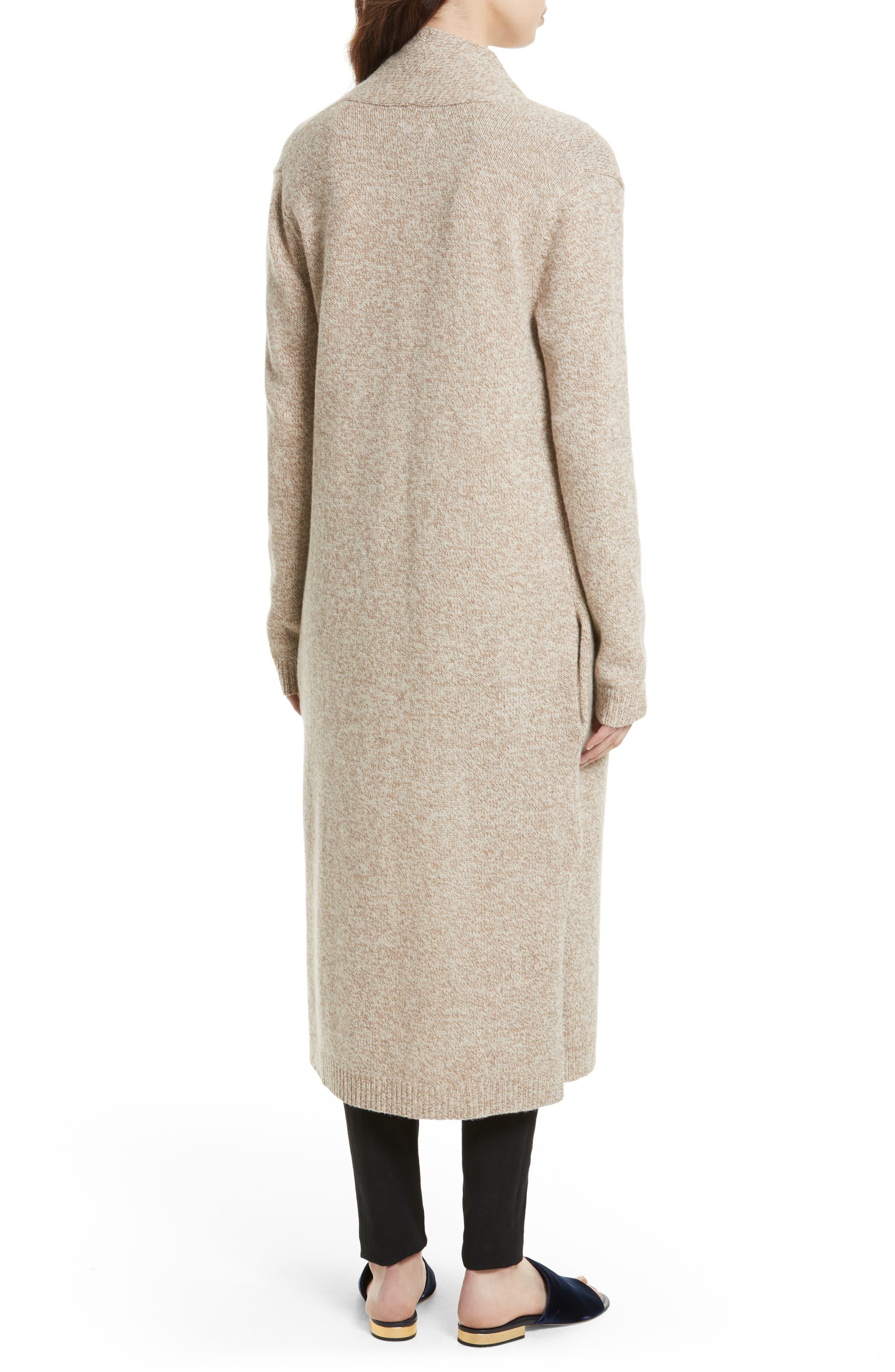 Thoren Long Wool Cardigan,                             Alternate thumbnail 2, color,                             Oatmeal Multi