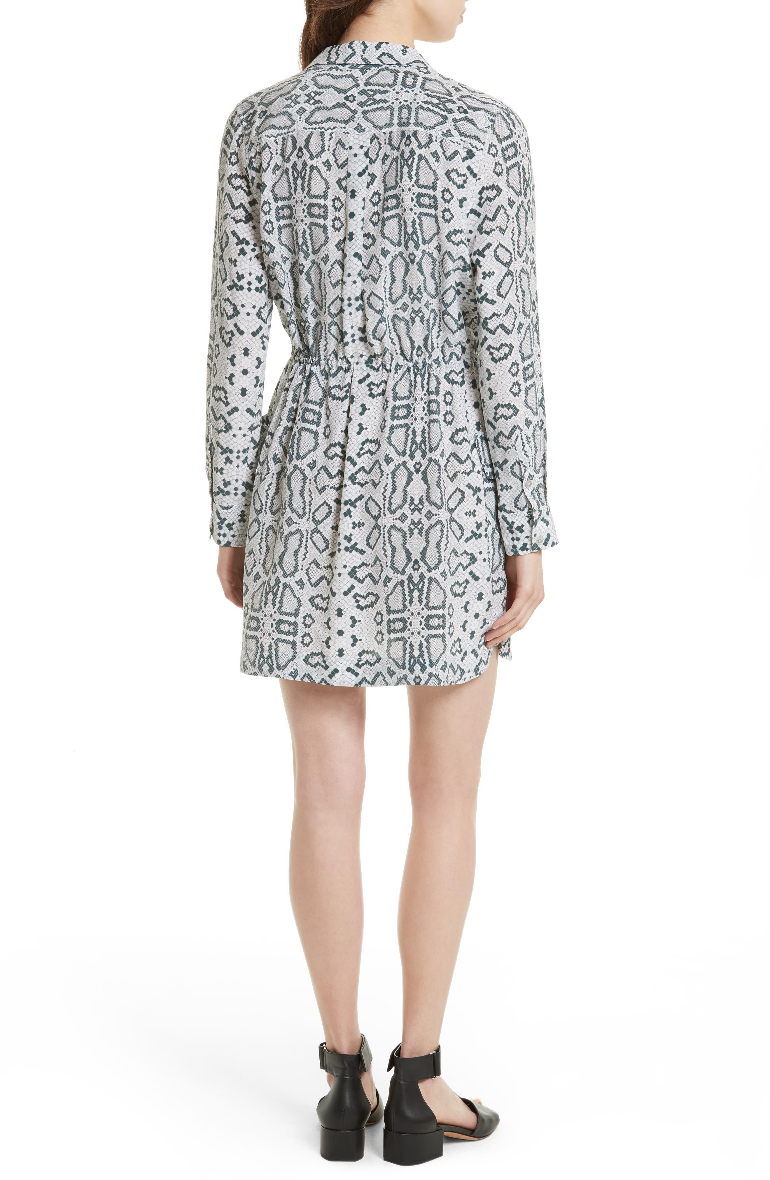 Emmanuelle Snake Print Silk Shirtdress,                             Alternate thumbnail 2, color,                             Mineral Grey Multi