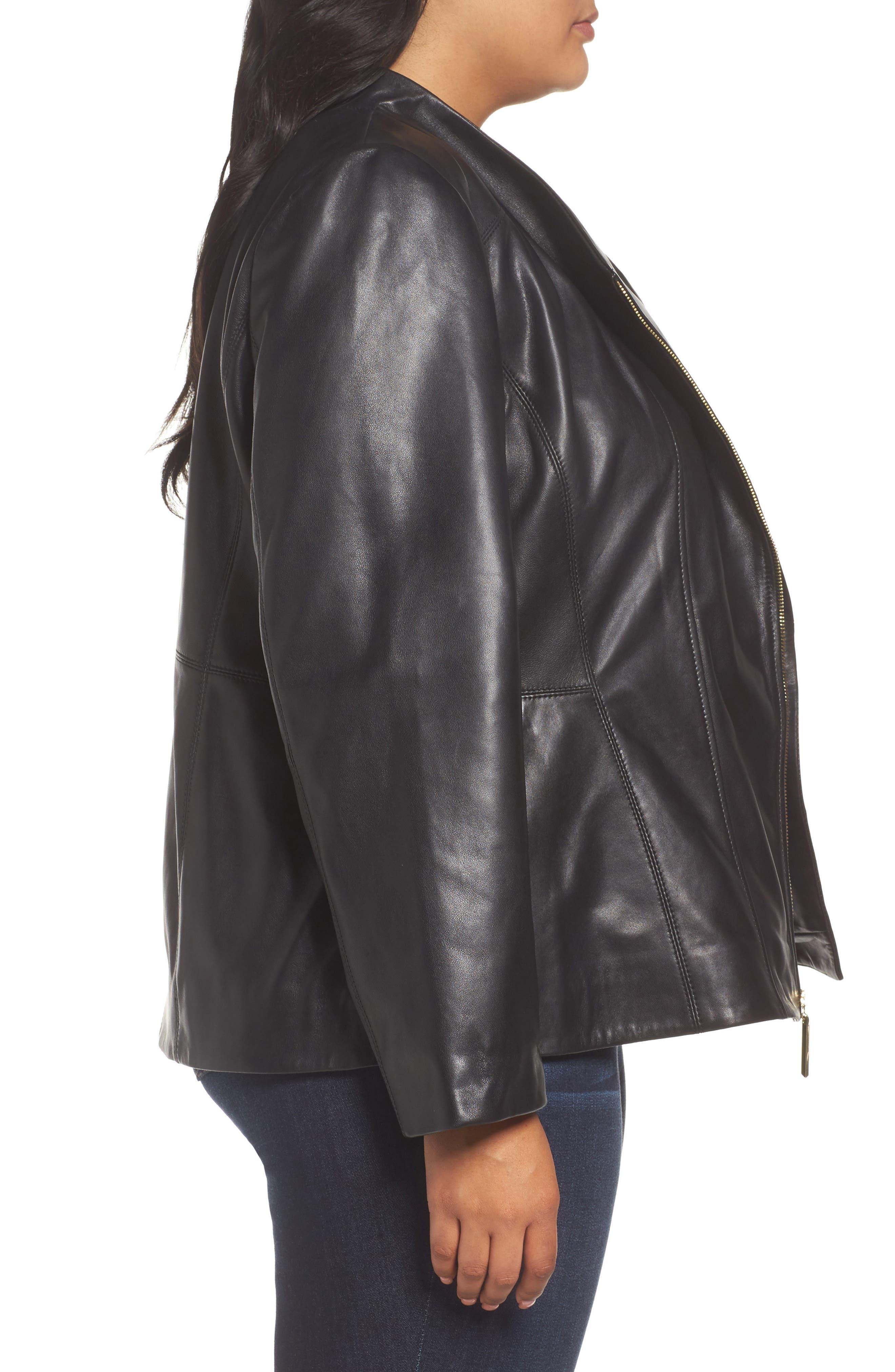 Asymmetrical Zip Leather Jacket,                             Alternate thumbnail 2, color,                             Black