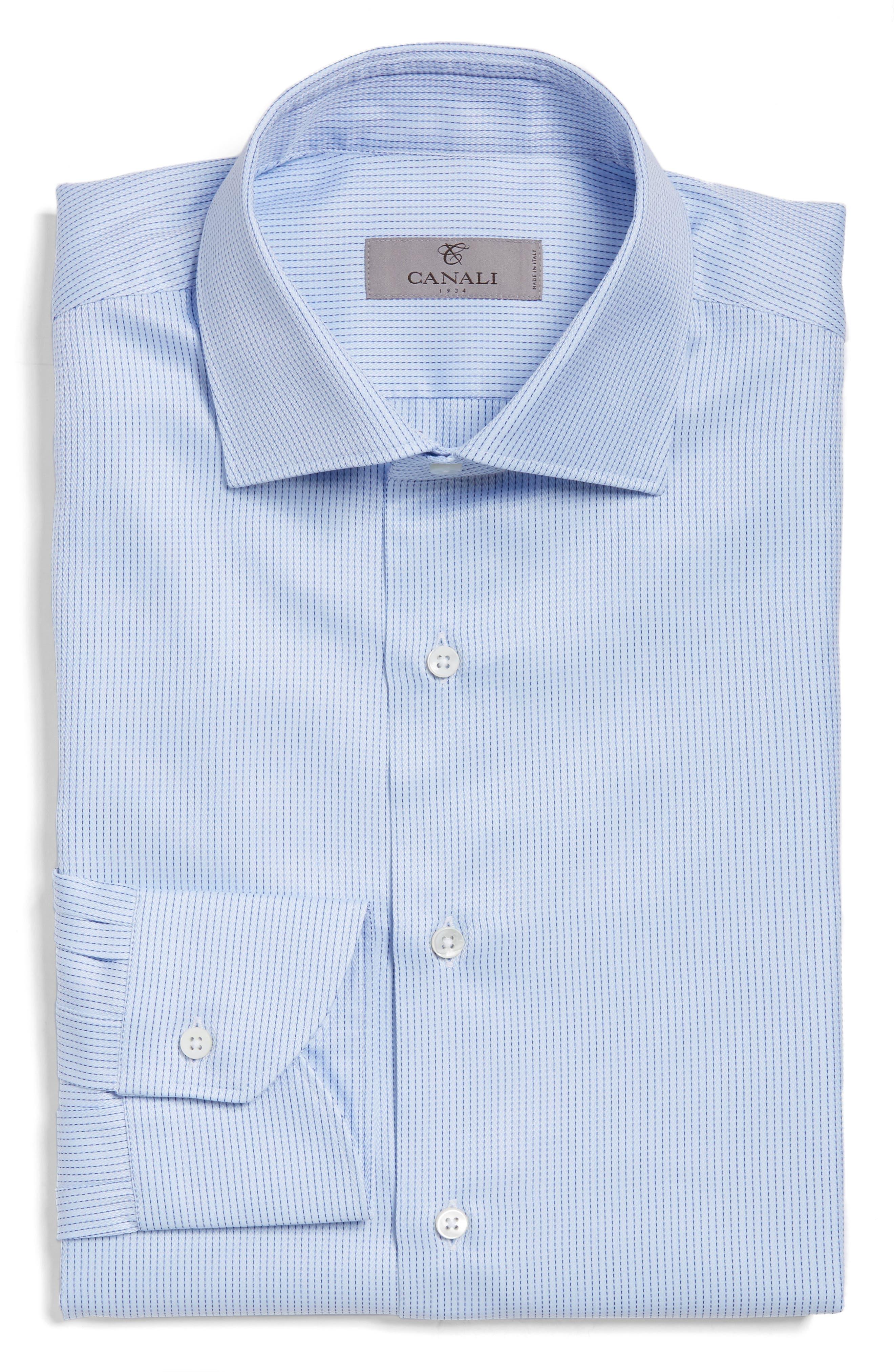 Regular Fit Stripe Dress Shirt,                         Main,                         color, Light Blue