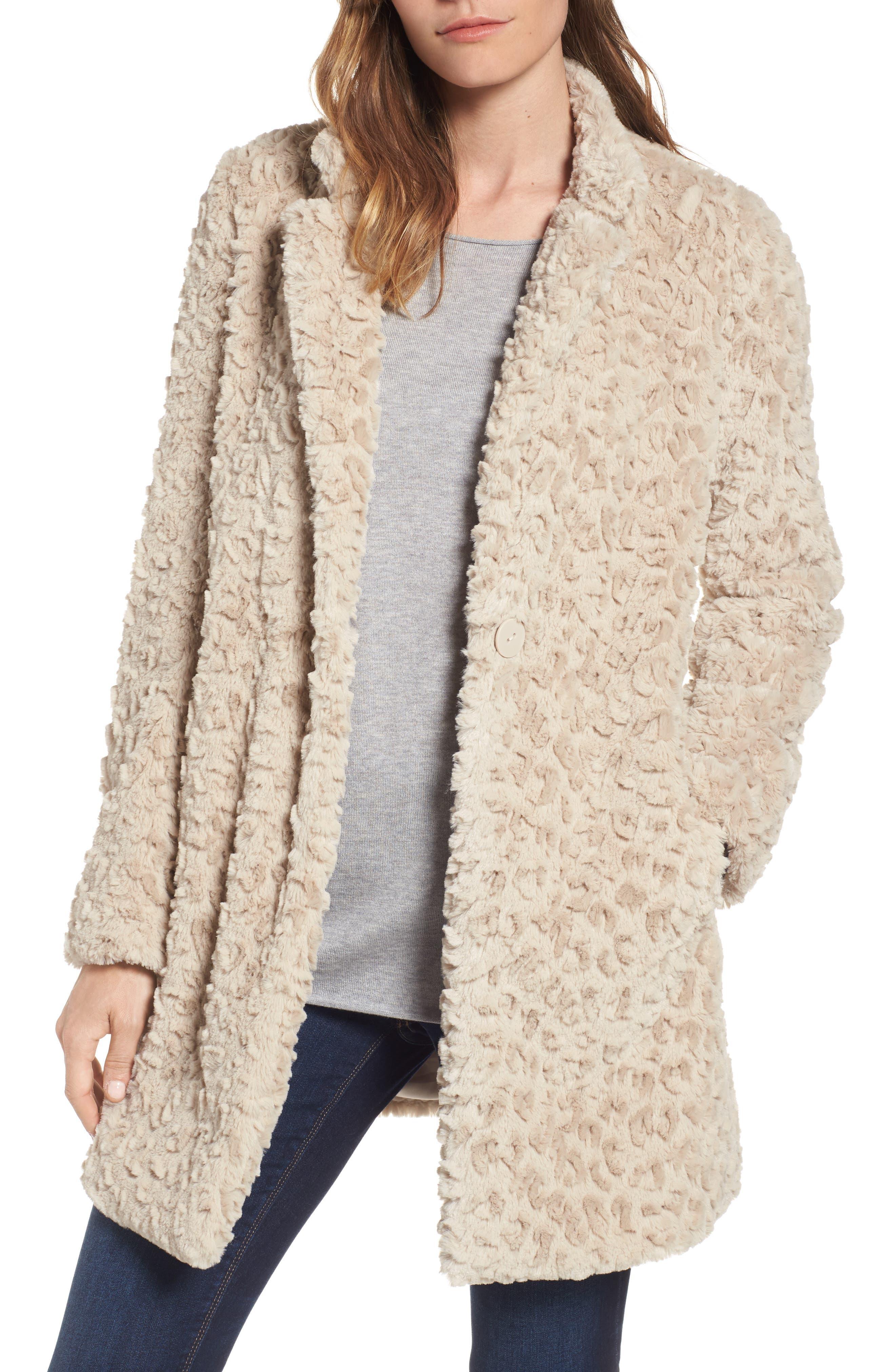 Kenneth Cole New York Faux Fur Coat (Regular & Petite)