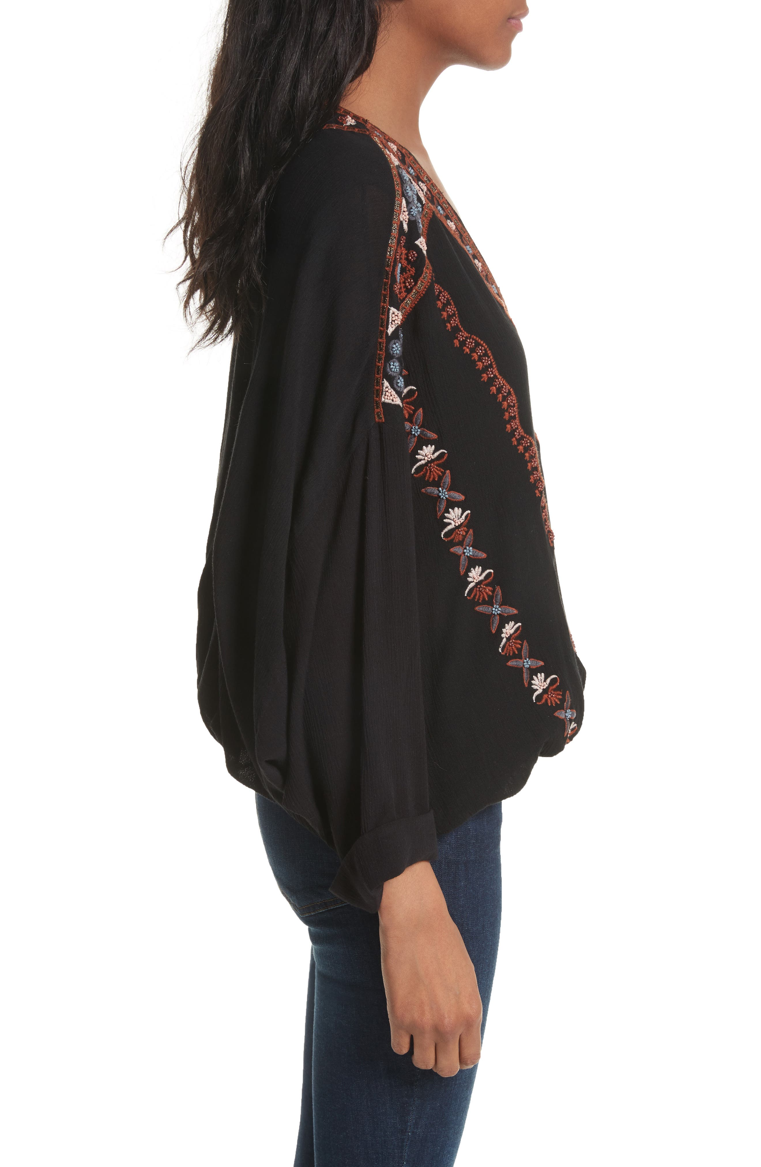 Alternate Image 3  - Free People Crescent Moon Embroidered Blouse