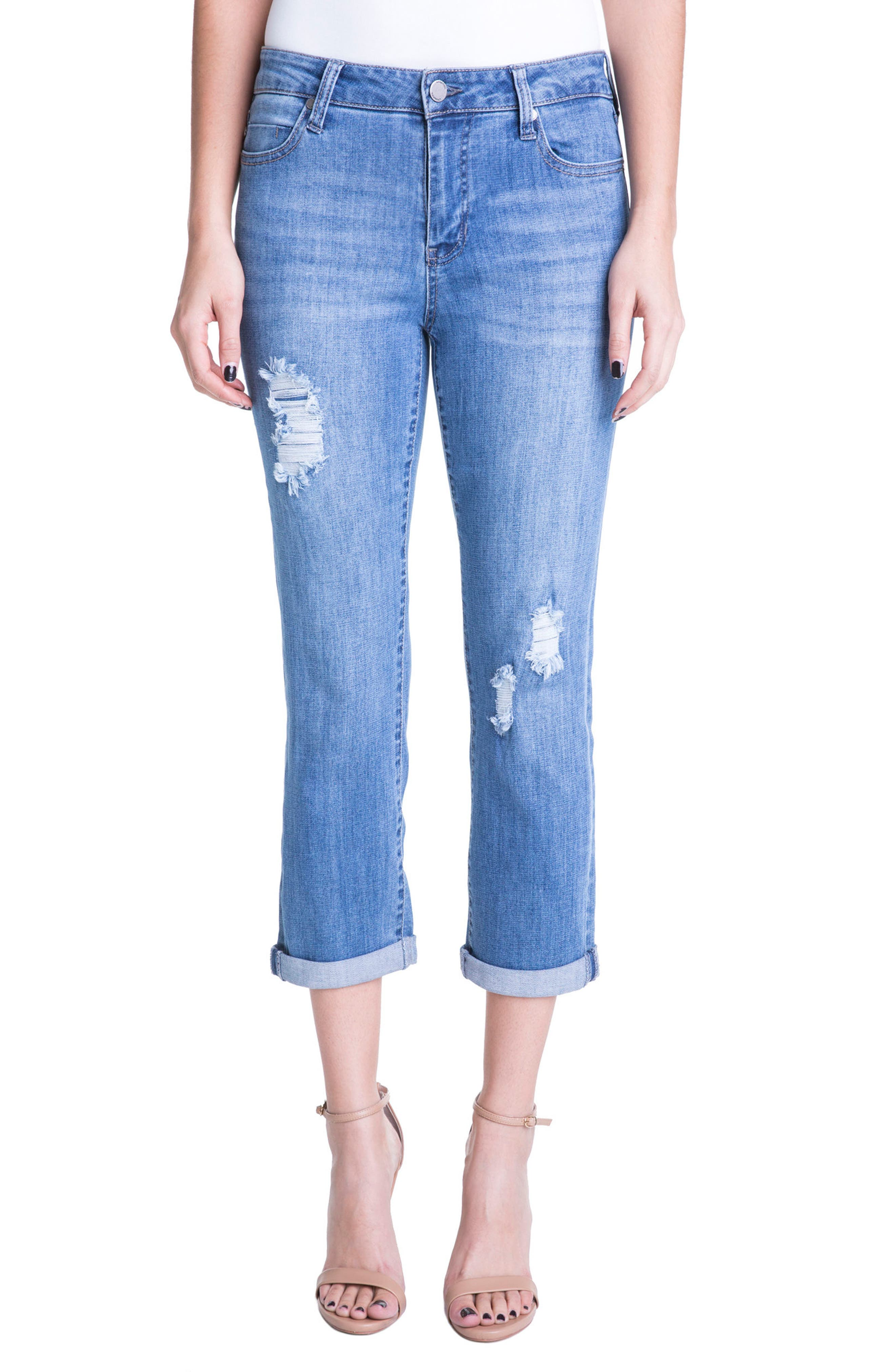 Main Image - Liverpool Jeans Company Michelle Distressed Cuff Capri Jeans (Melbourne Light Destruction)