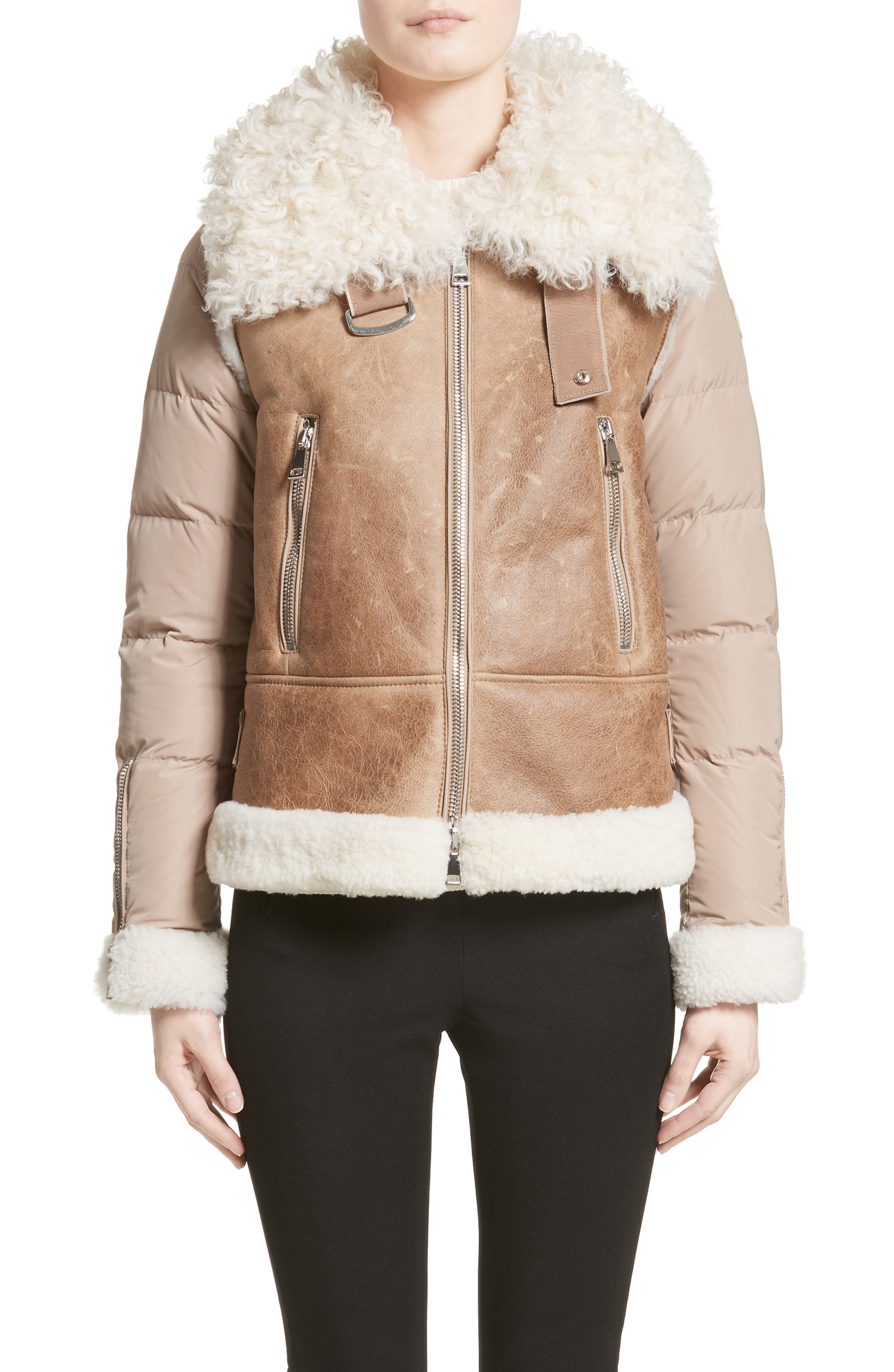 Alternate Image 7  - Moncler Kilia Genuine Shearling & Down Puffer Jacket