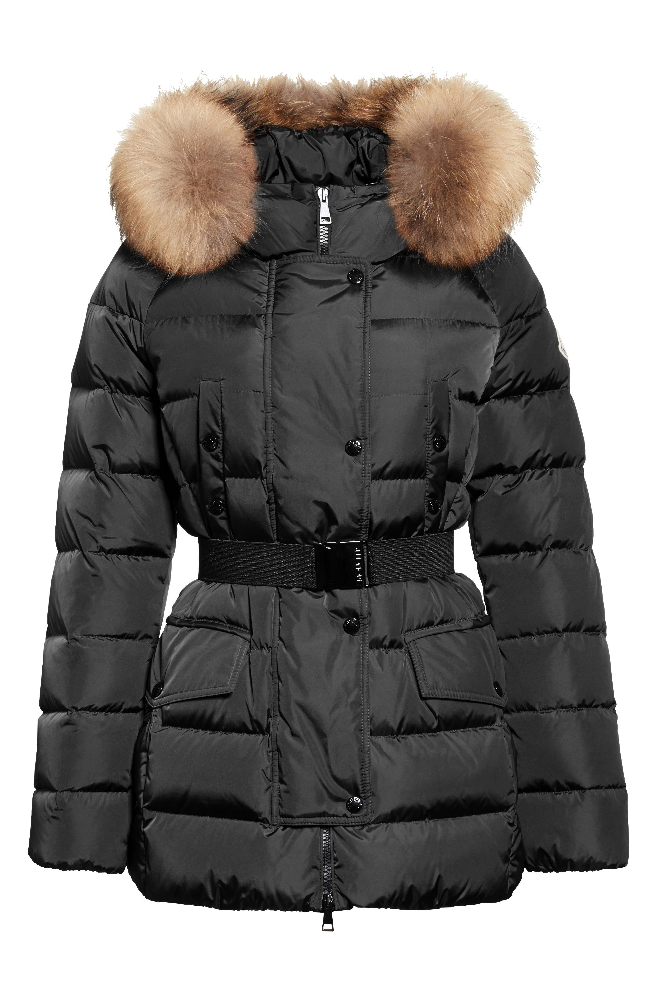 Clio Belted Down Puffer Coat with Removable Genuine Fox Fur Trim,                             Alternate thumbnail 6, color,                             Black