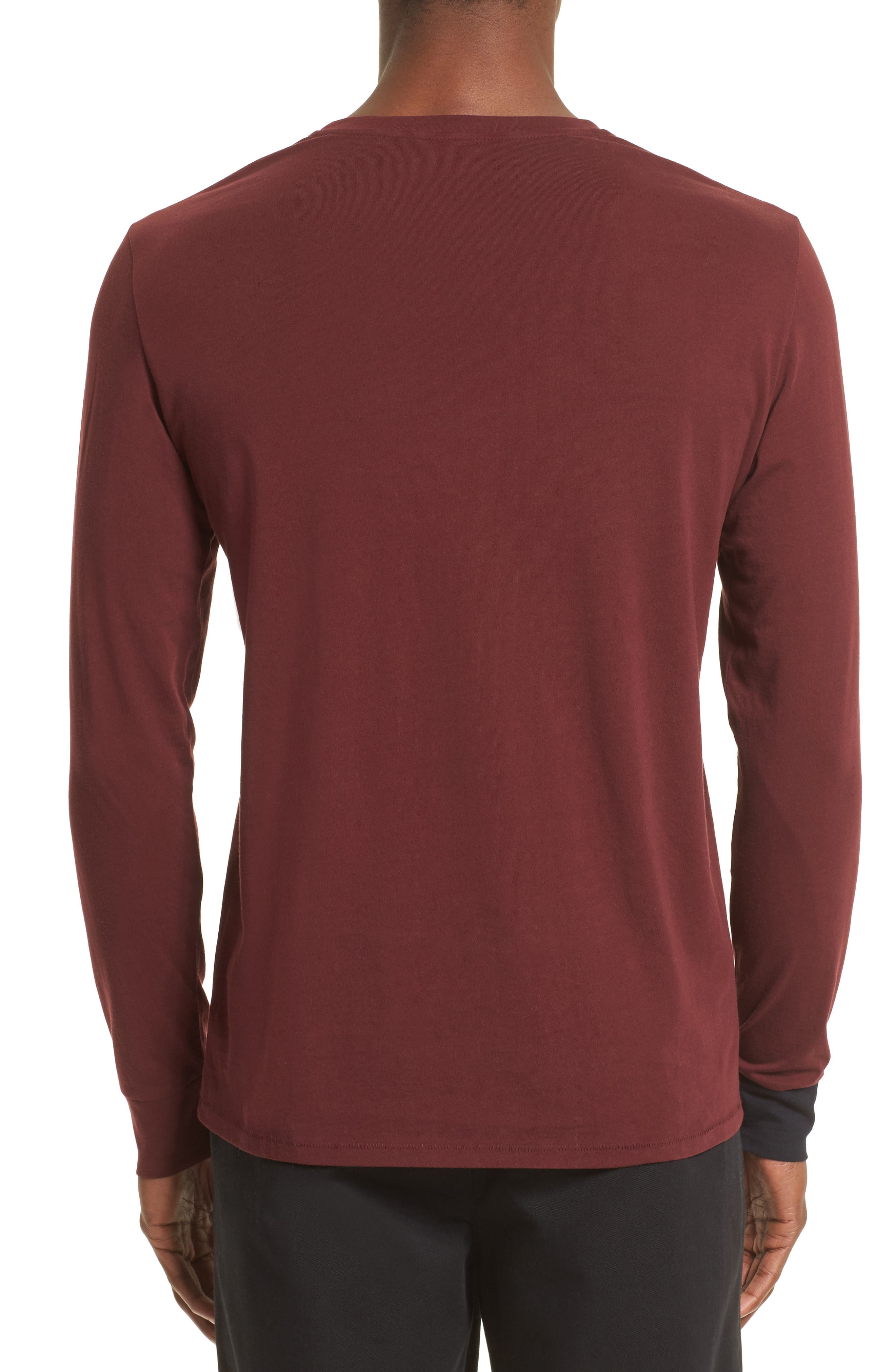 Contrast Cuff T-Shirt,                             Alternate thumbnail 2, color,                             Maroon