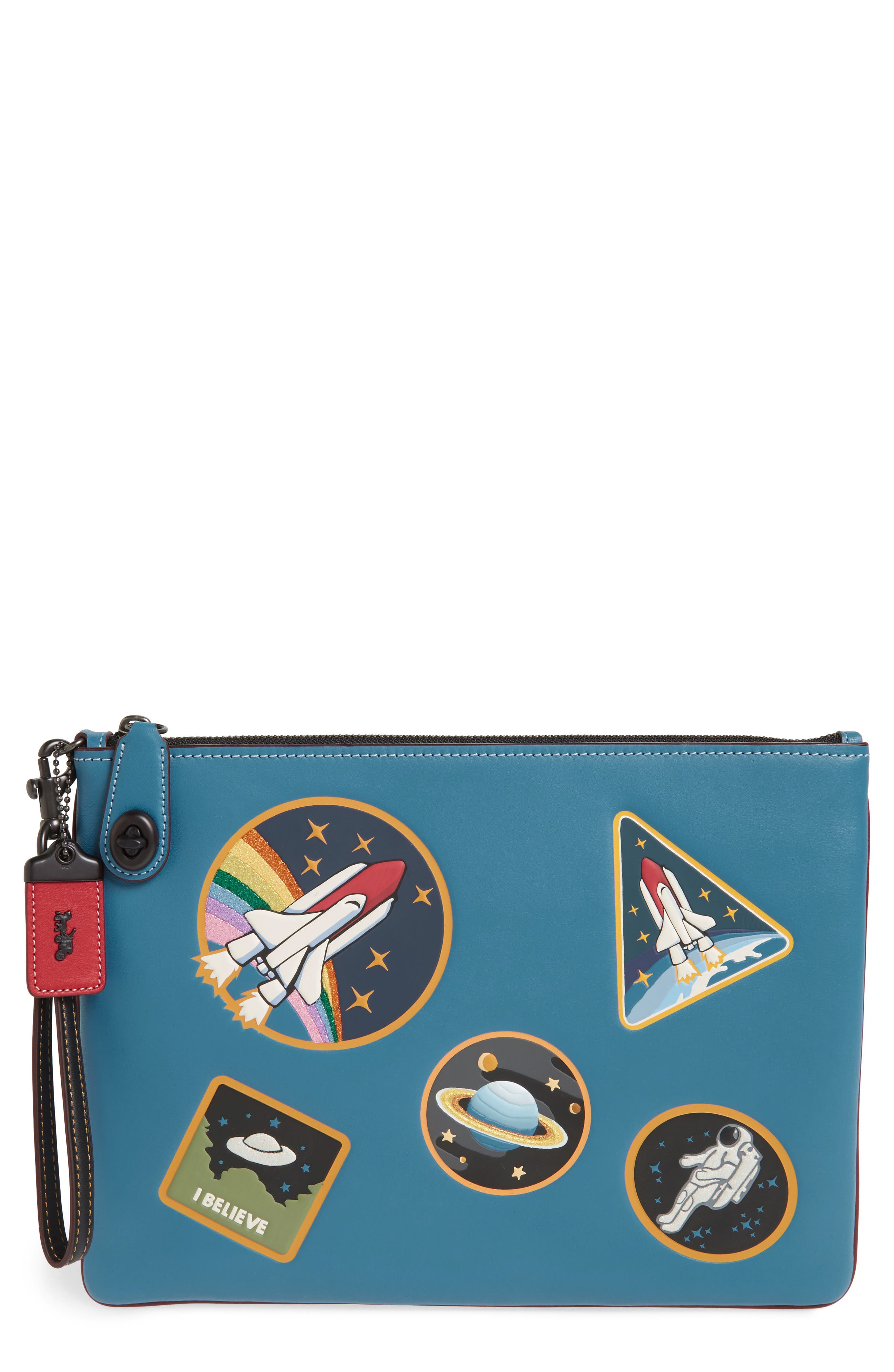 Alternate Image 1 Selected - COACH 1941 Space Patches Leather Wristlet