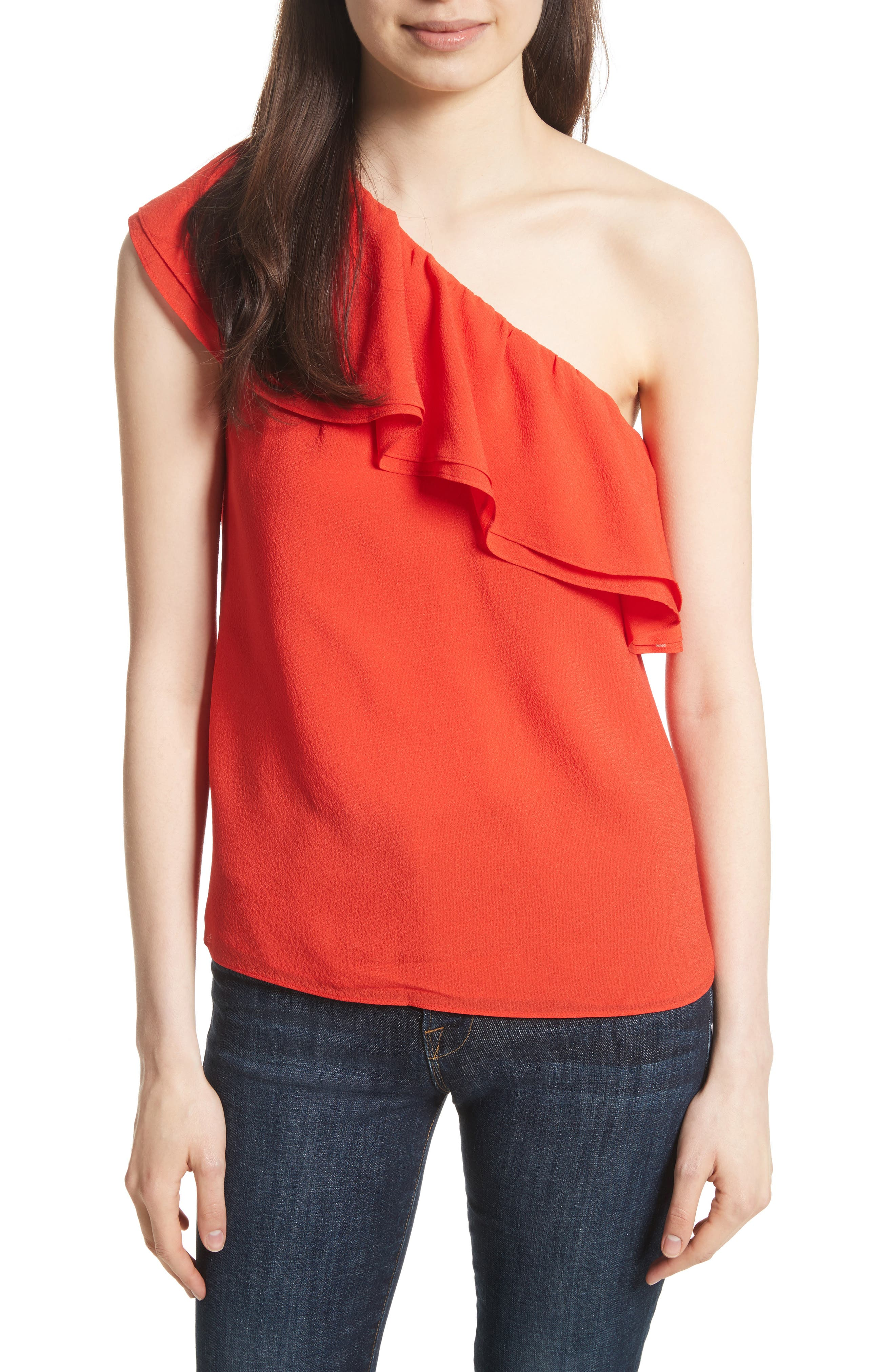 One-Shoulder Silk Top,                         Main,                         color, Candy Apple