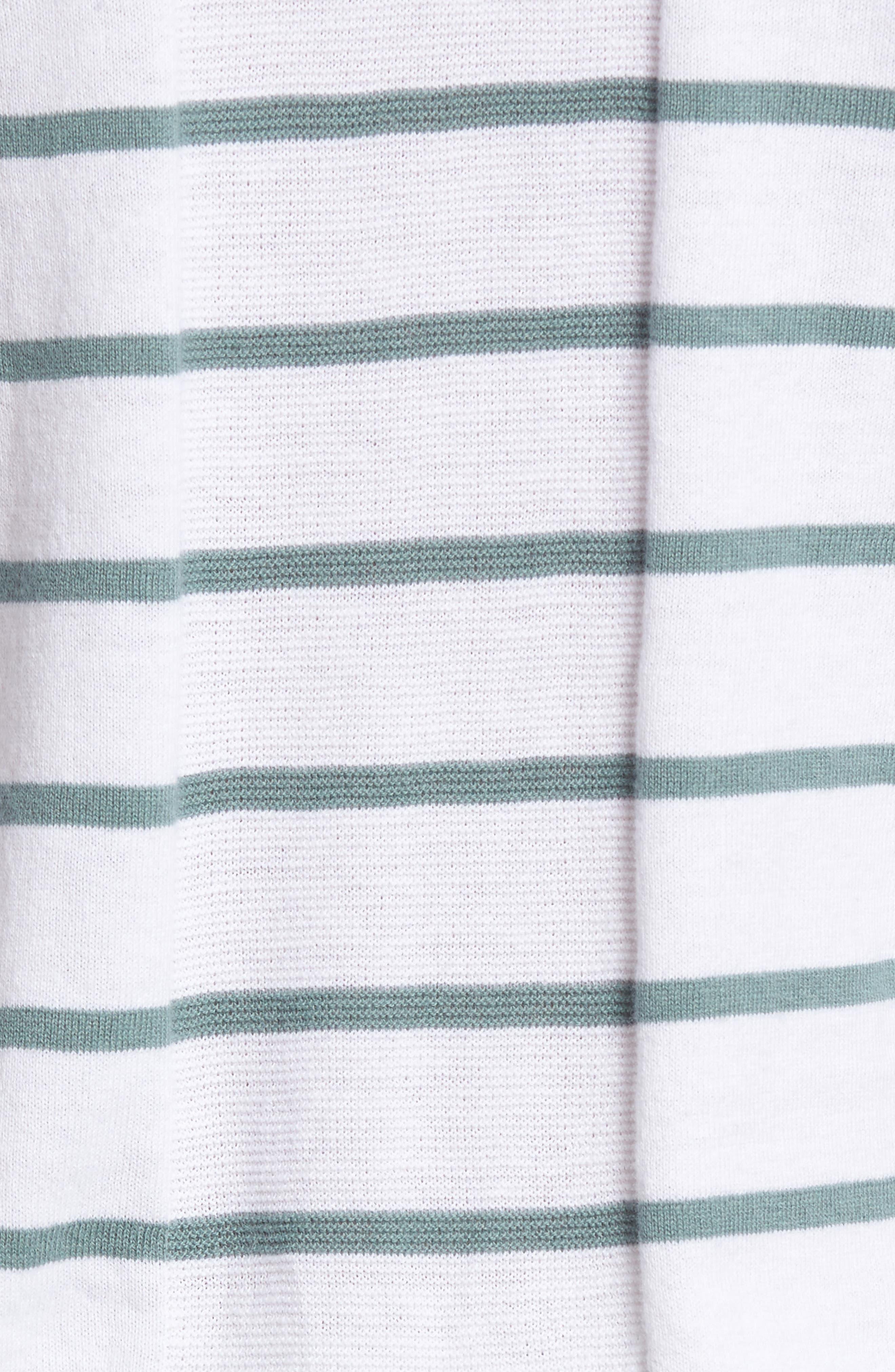 The Farrell Stripe V-Neck Sweater,                             Alternate thumbnail 5, color,                             White/ Agave Green/ Naval Blue
