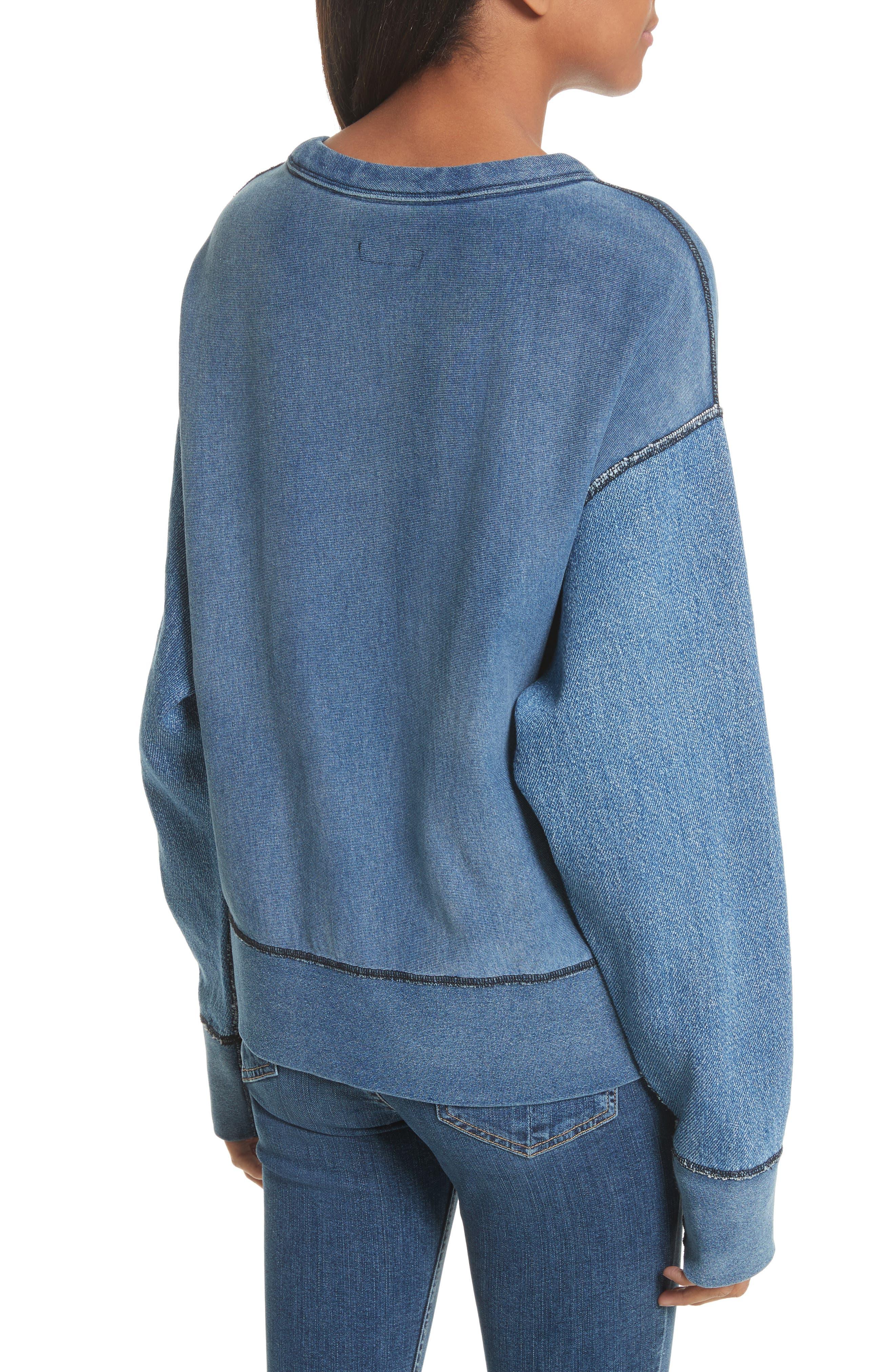Alternate Image 2  - rag & bone Indigo Baby Racer Sweatshirt